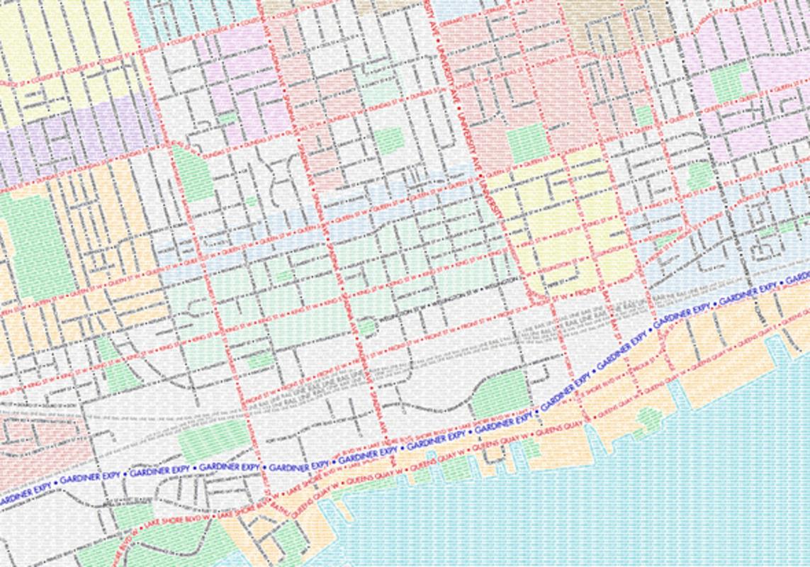 Typographic Map Toronto