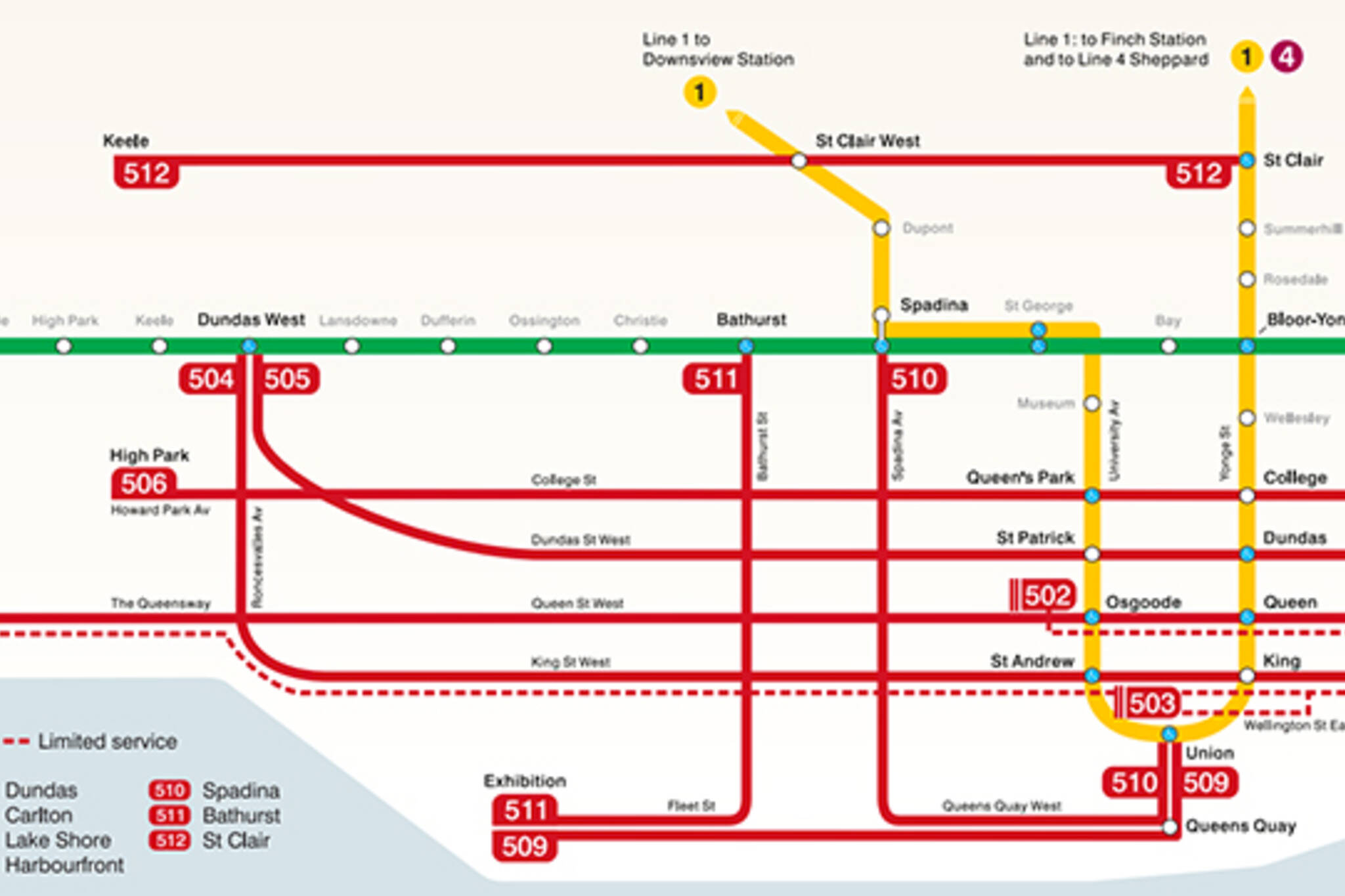 TTC route map