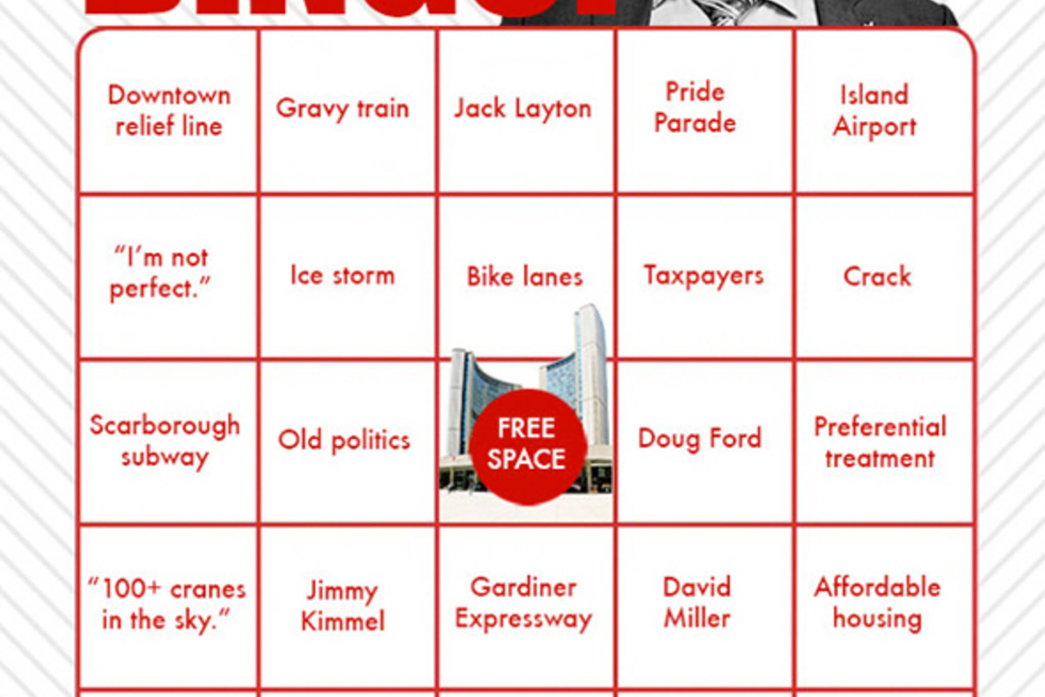 Mayoral debate bingo Toronto