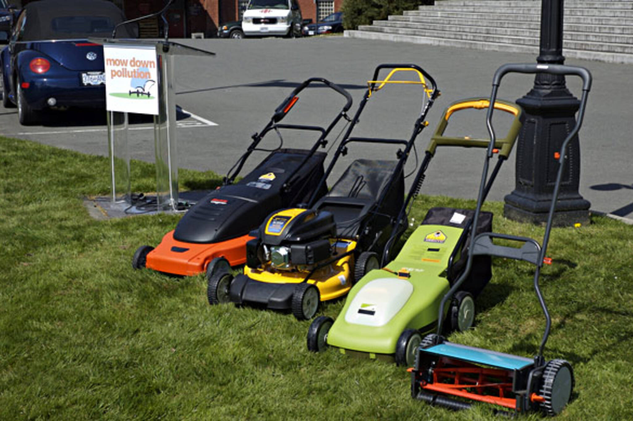 Eco-friendly lawn mowers at Mow Down Pollution event launch
