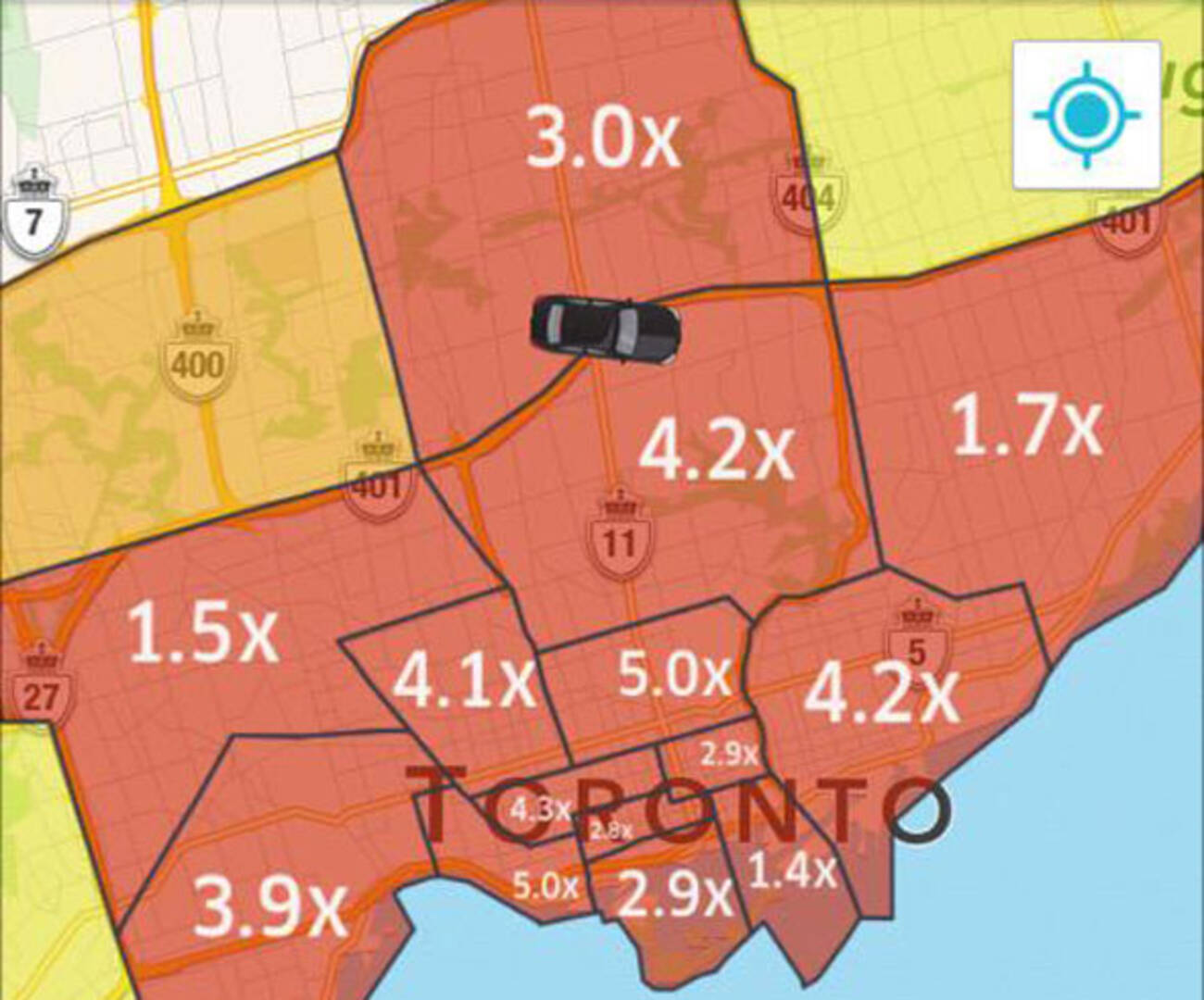 Uber Takes Heat For Jacking Prices During TTC Outage - Uber heat map us
