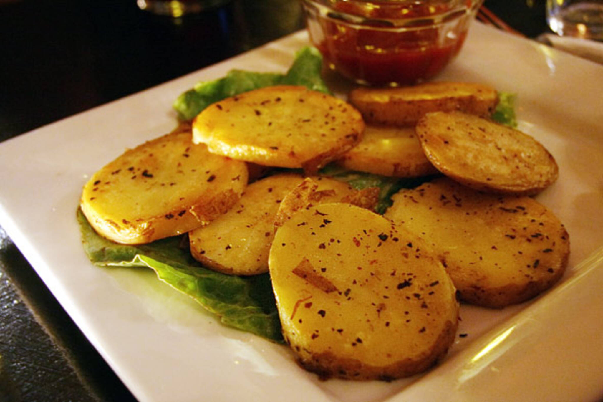 Sliced  potatoes at Nirvana on College Street