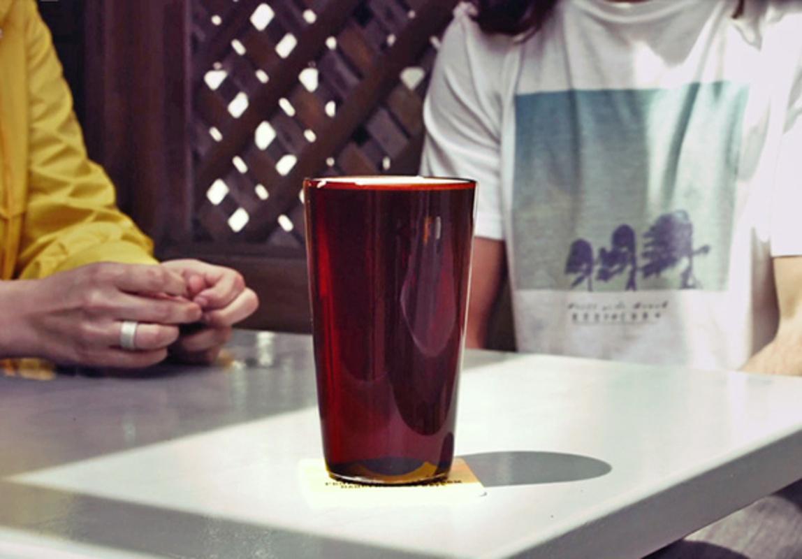 bru v glass beer