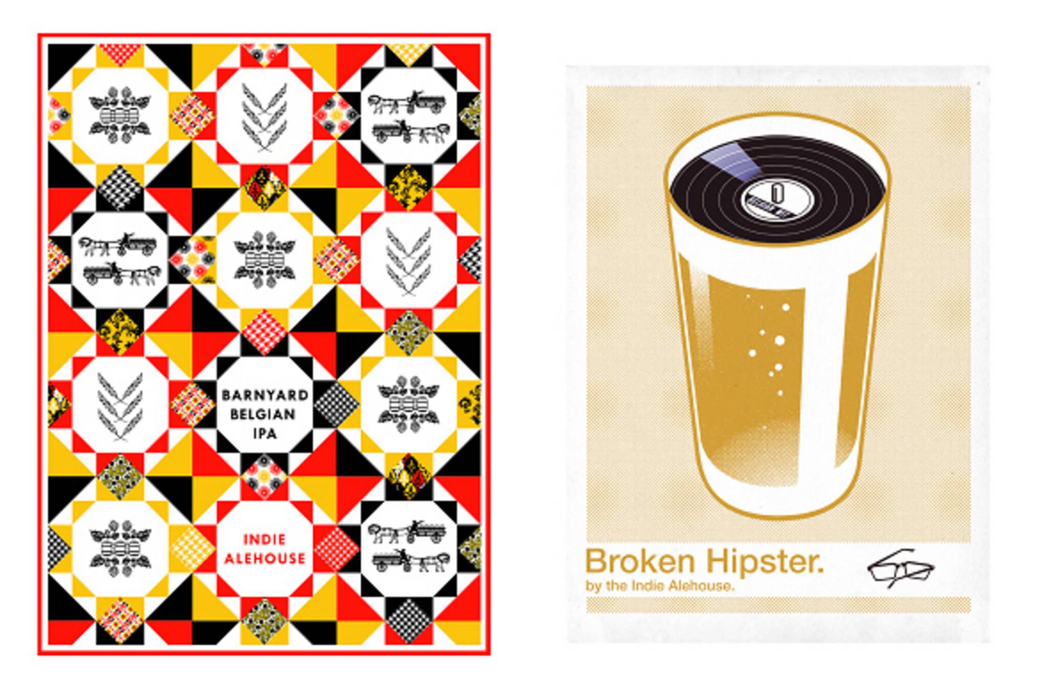 Indie Alehouse Beer labels