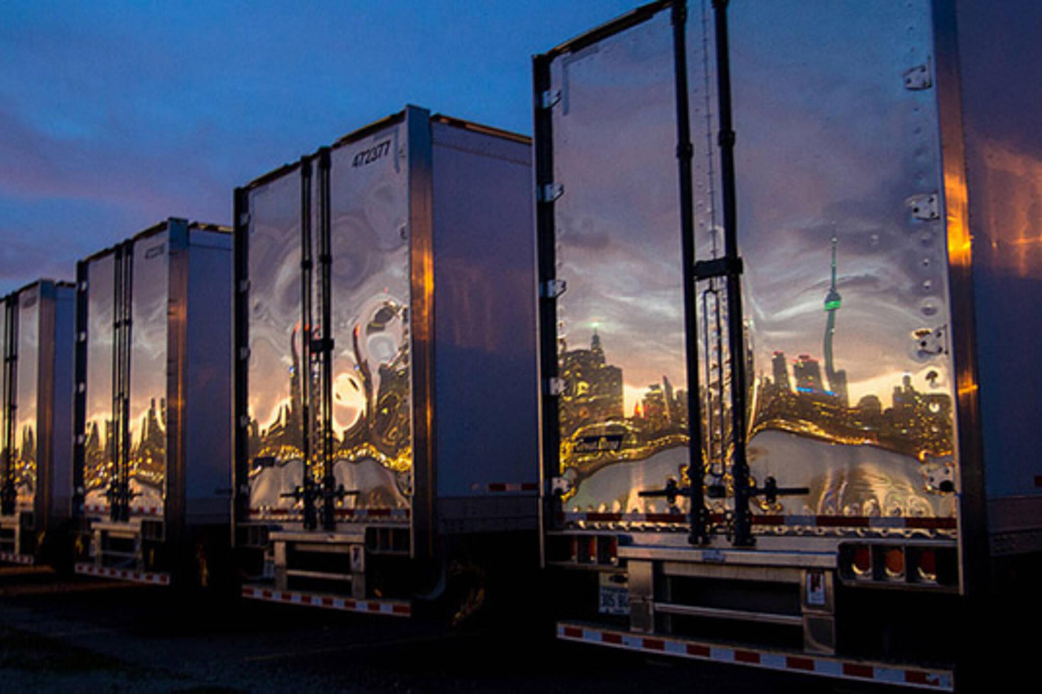 skyline, reflection, trucks