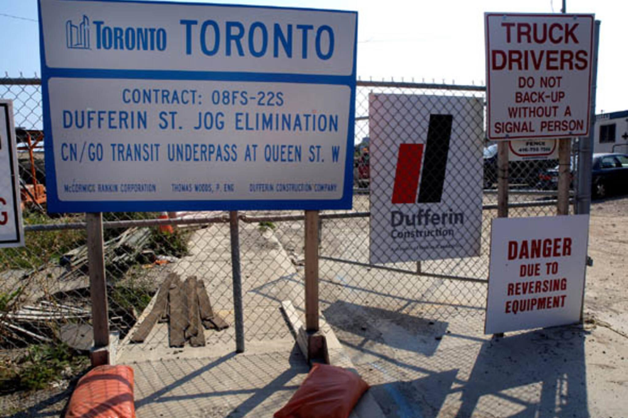 Dufferin Jog construction Toronto