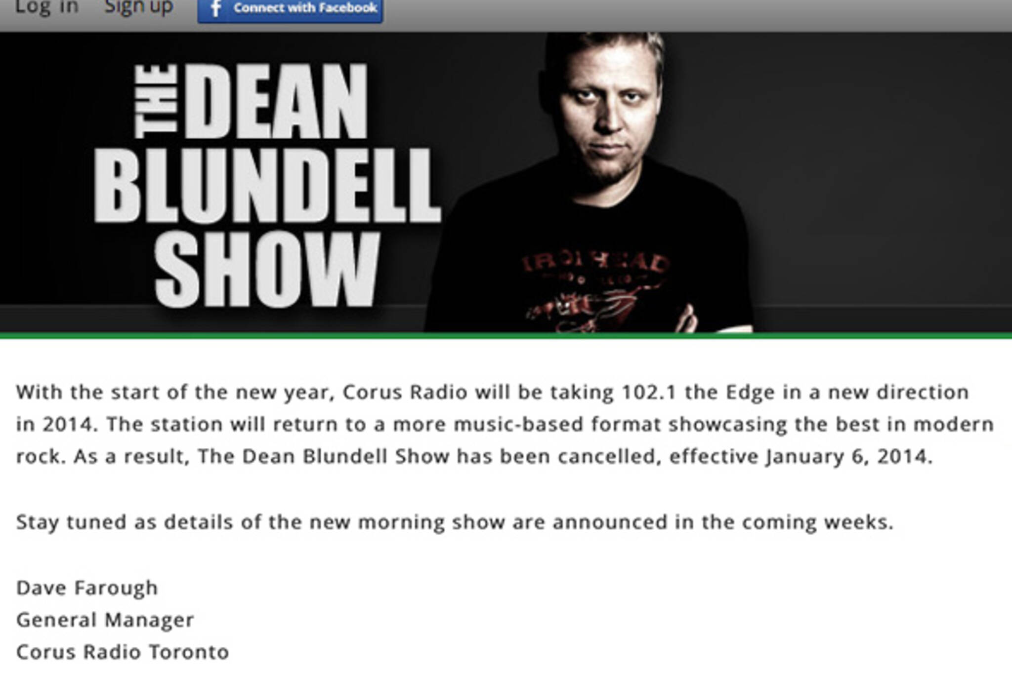Dean Blundell Show Cancelled