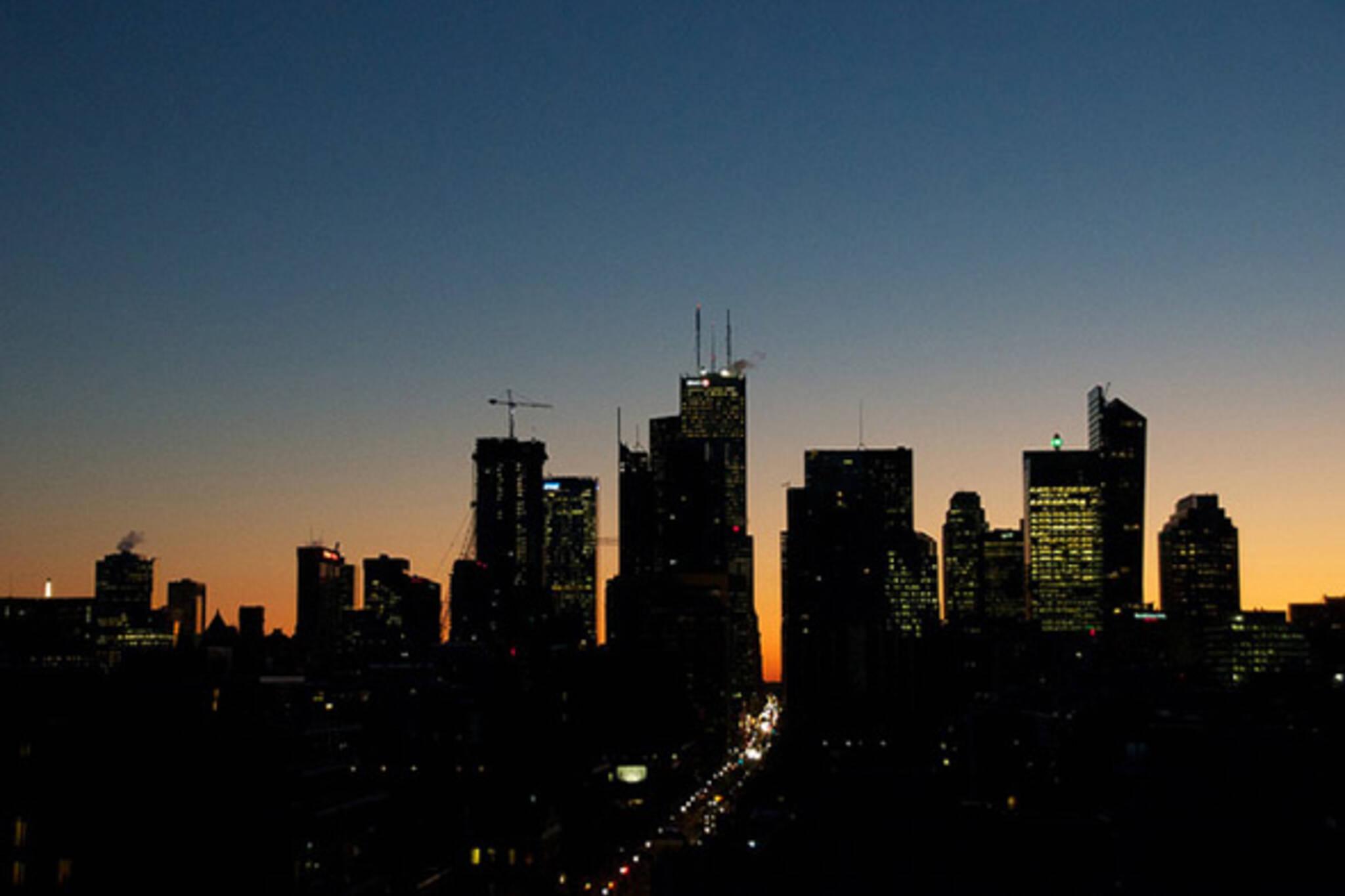 toronto, skyline, night