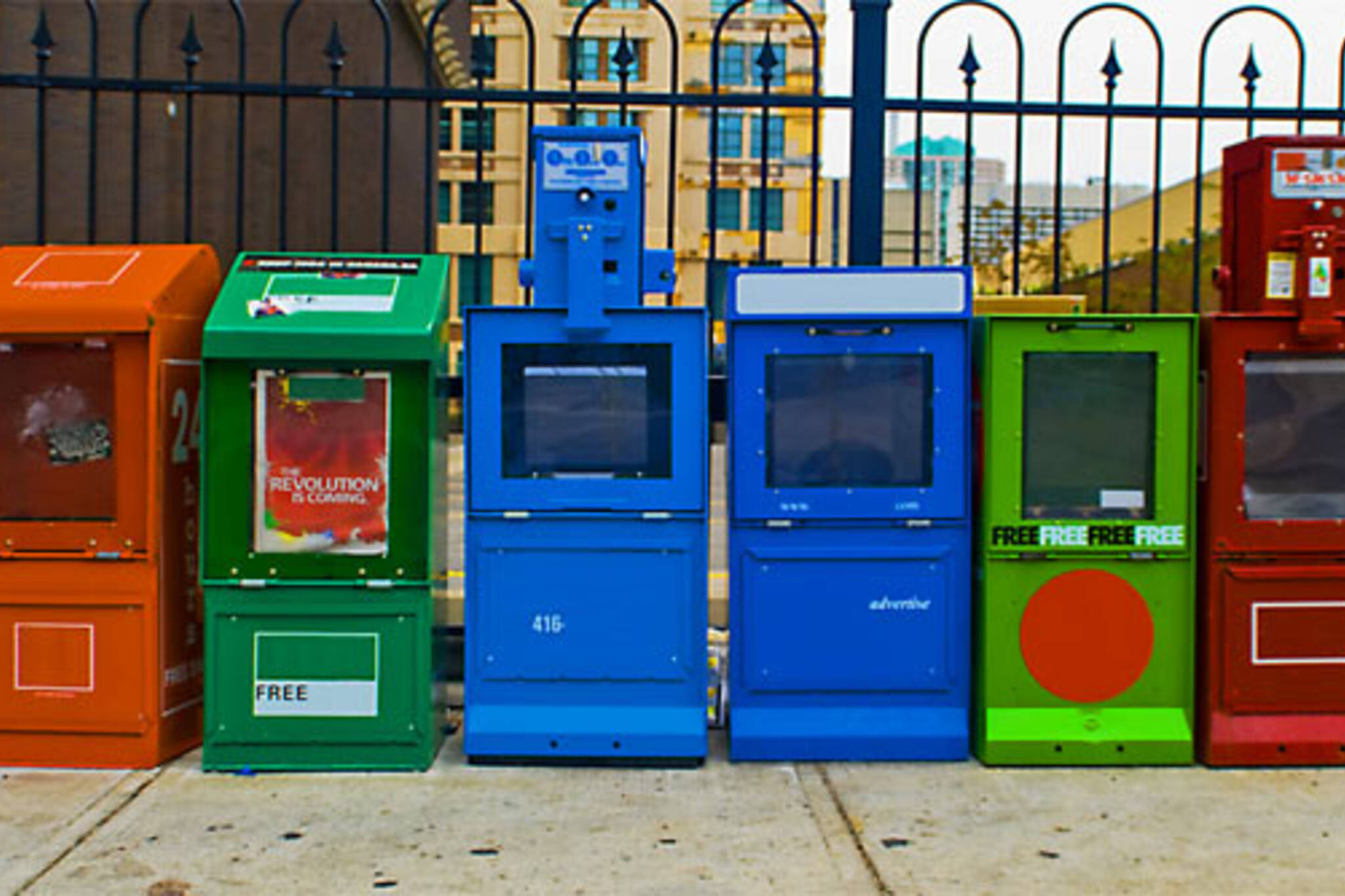 empty newspaper boxes