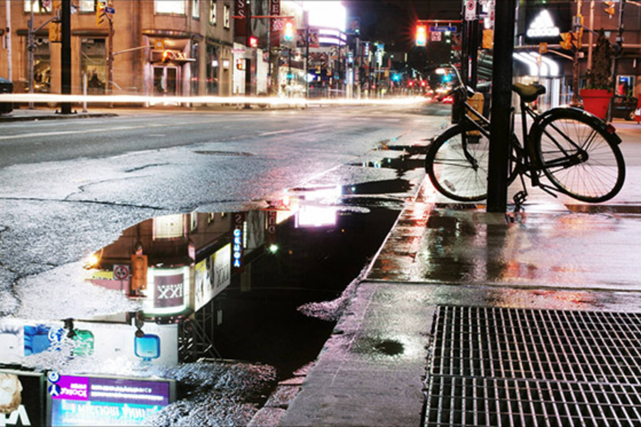 rain, night, reflection