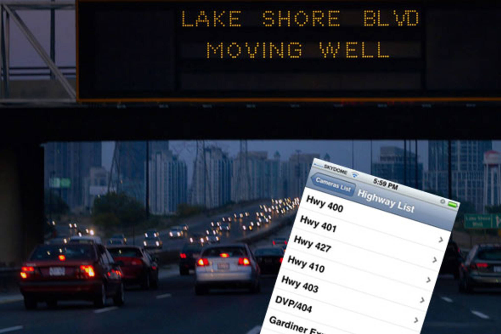 toronto traffic iphone