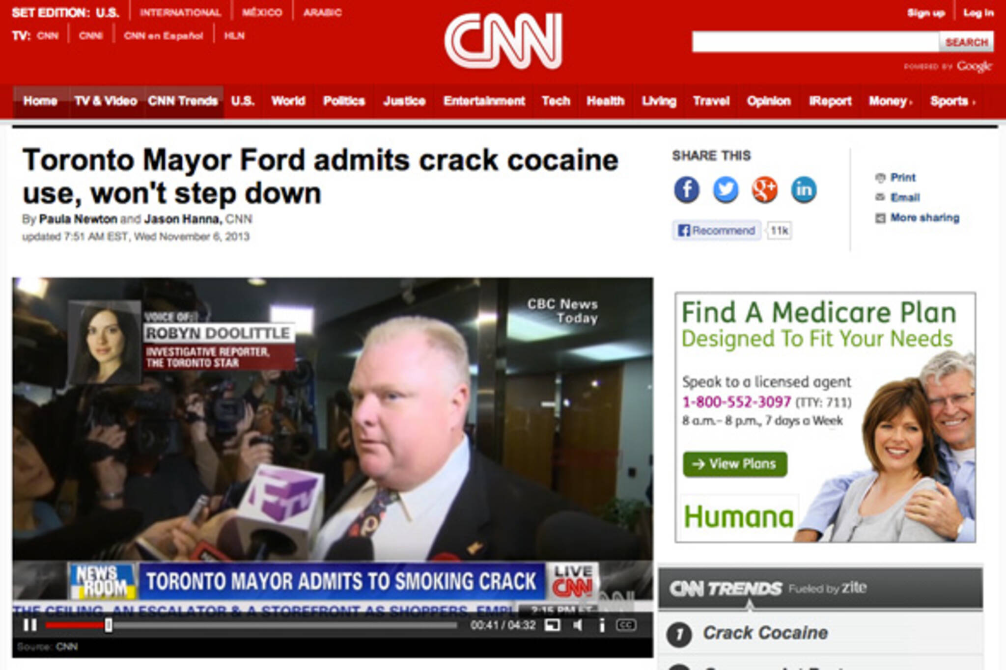 Rob Ford Crack Headlines