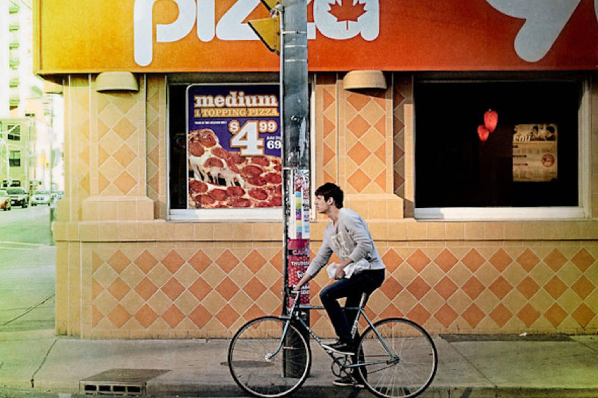 street, pizza, bike