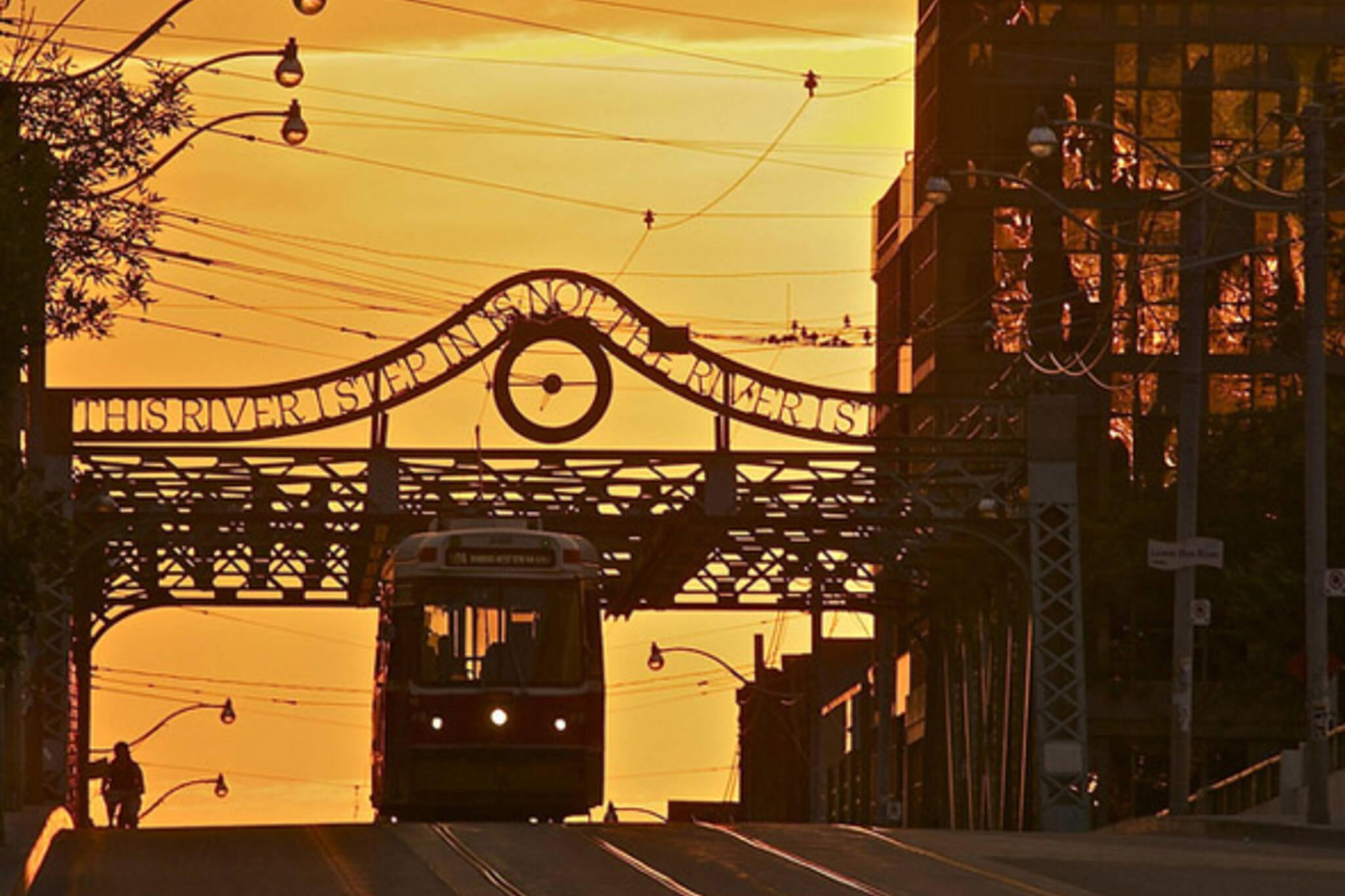 streetcar, street, sunrise