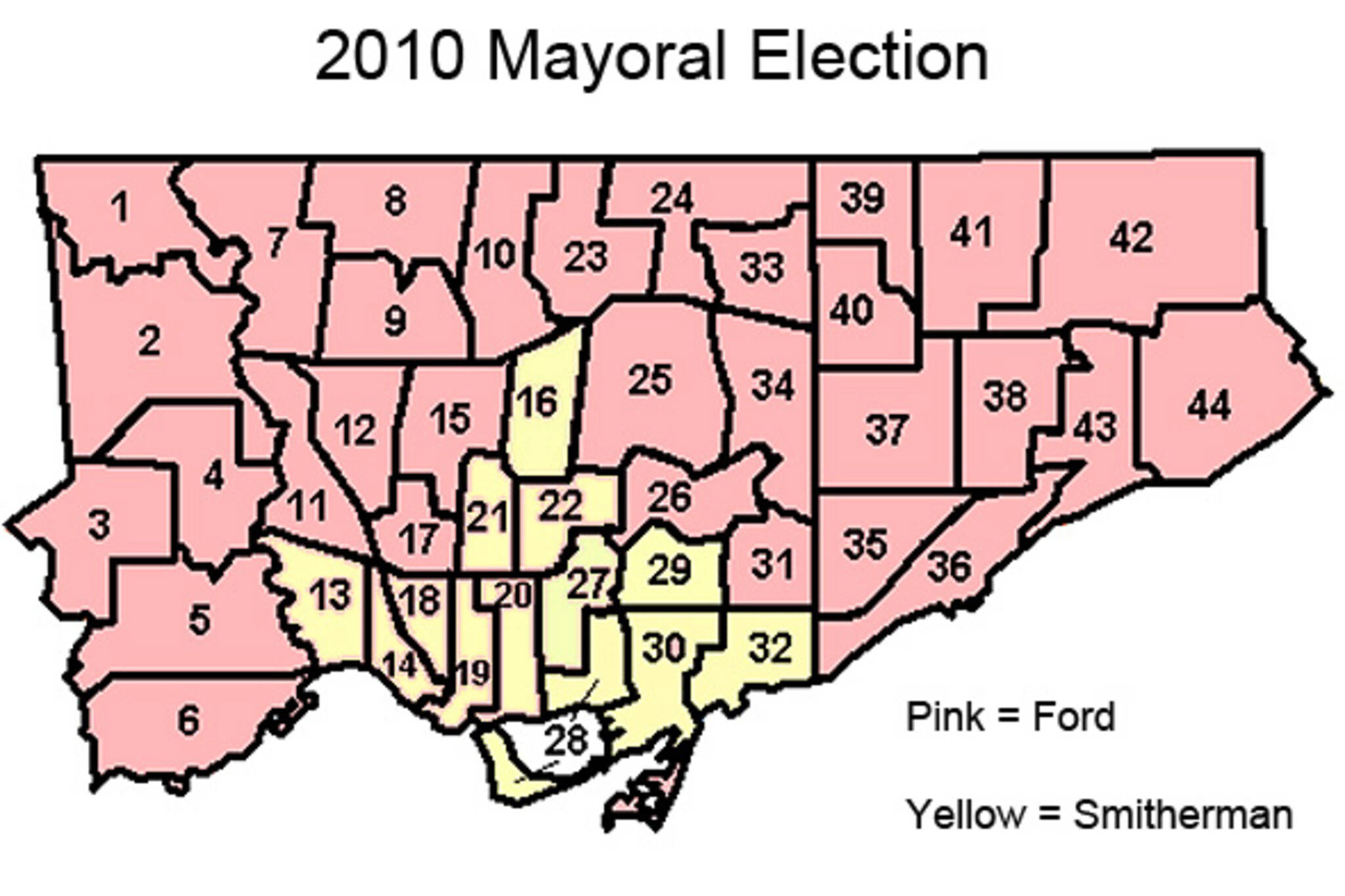 Toronto Results 2010 Mayoral Race