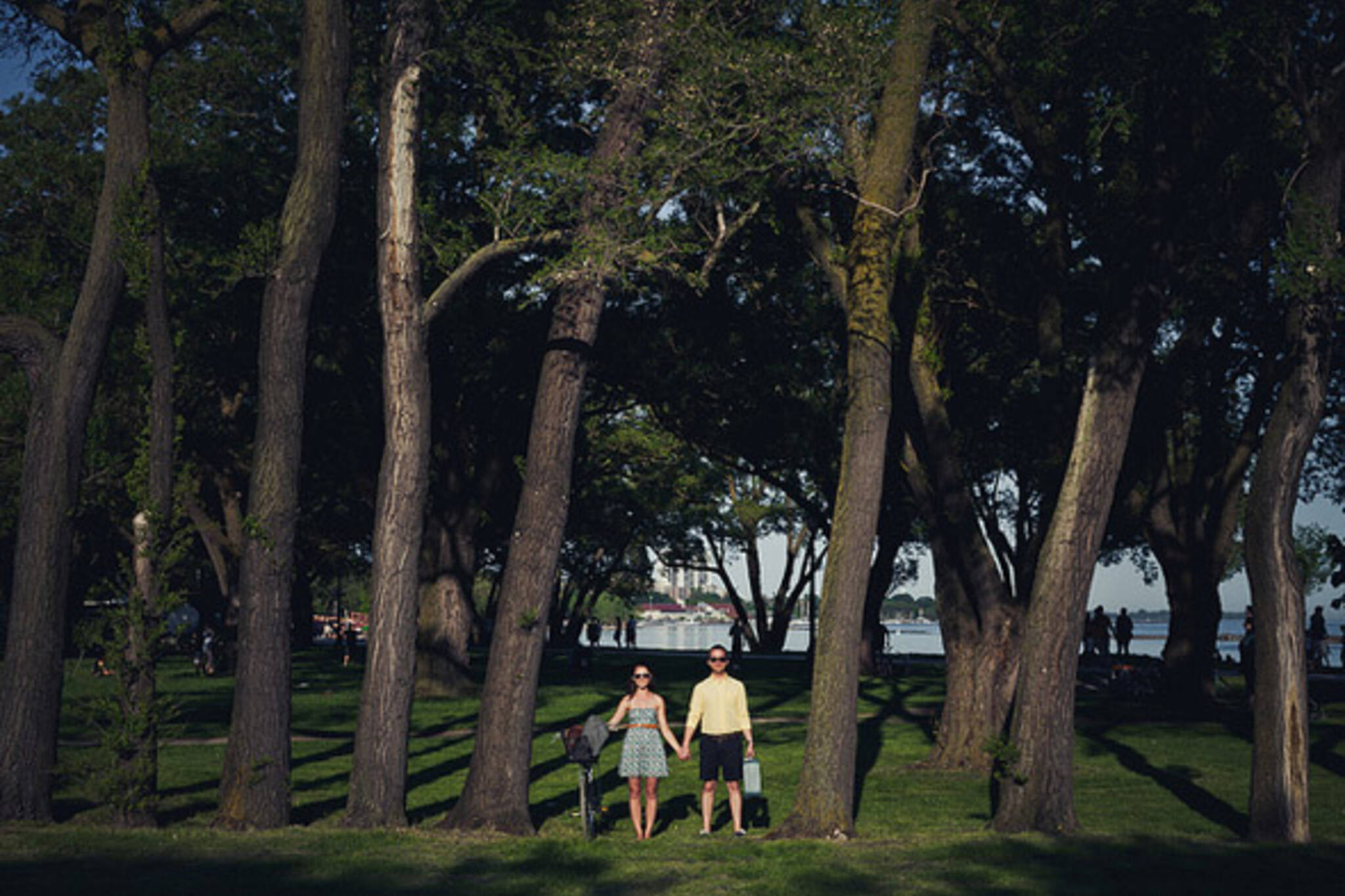 couple, park, summer