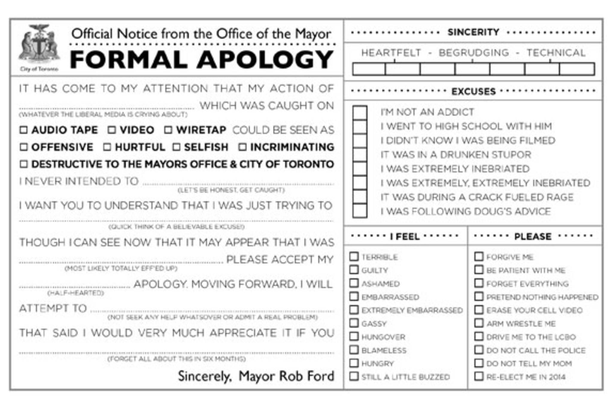 rob ford apology