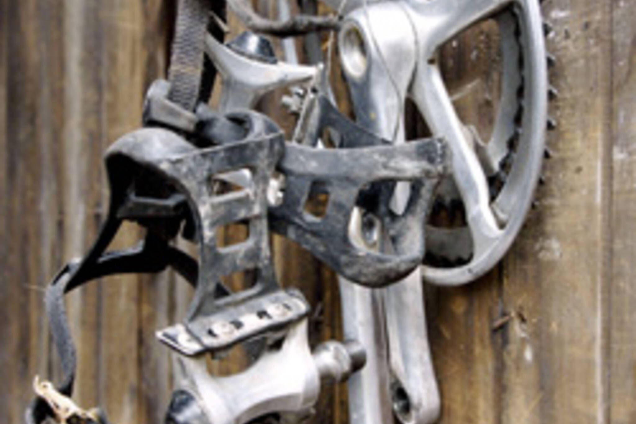 Igor Kenk's stolen bike parts hang by a nail on a garage raided by Toronto police
