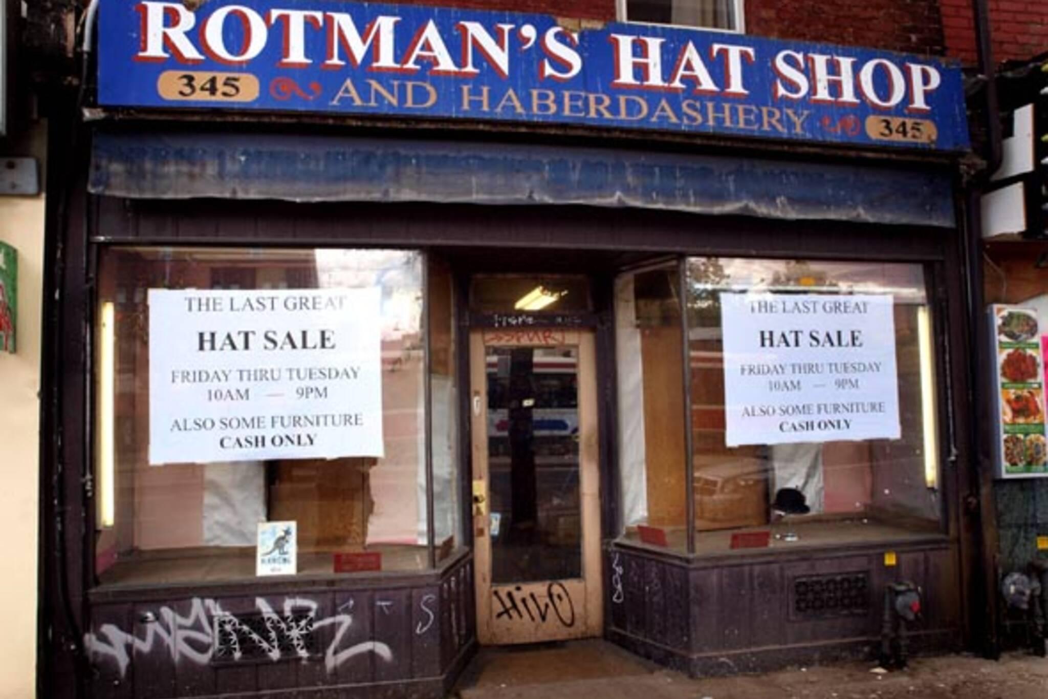 Rotman's Hats closes