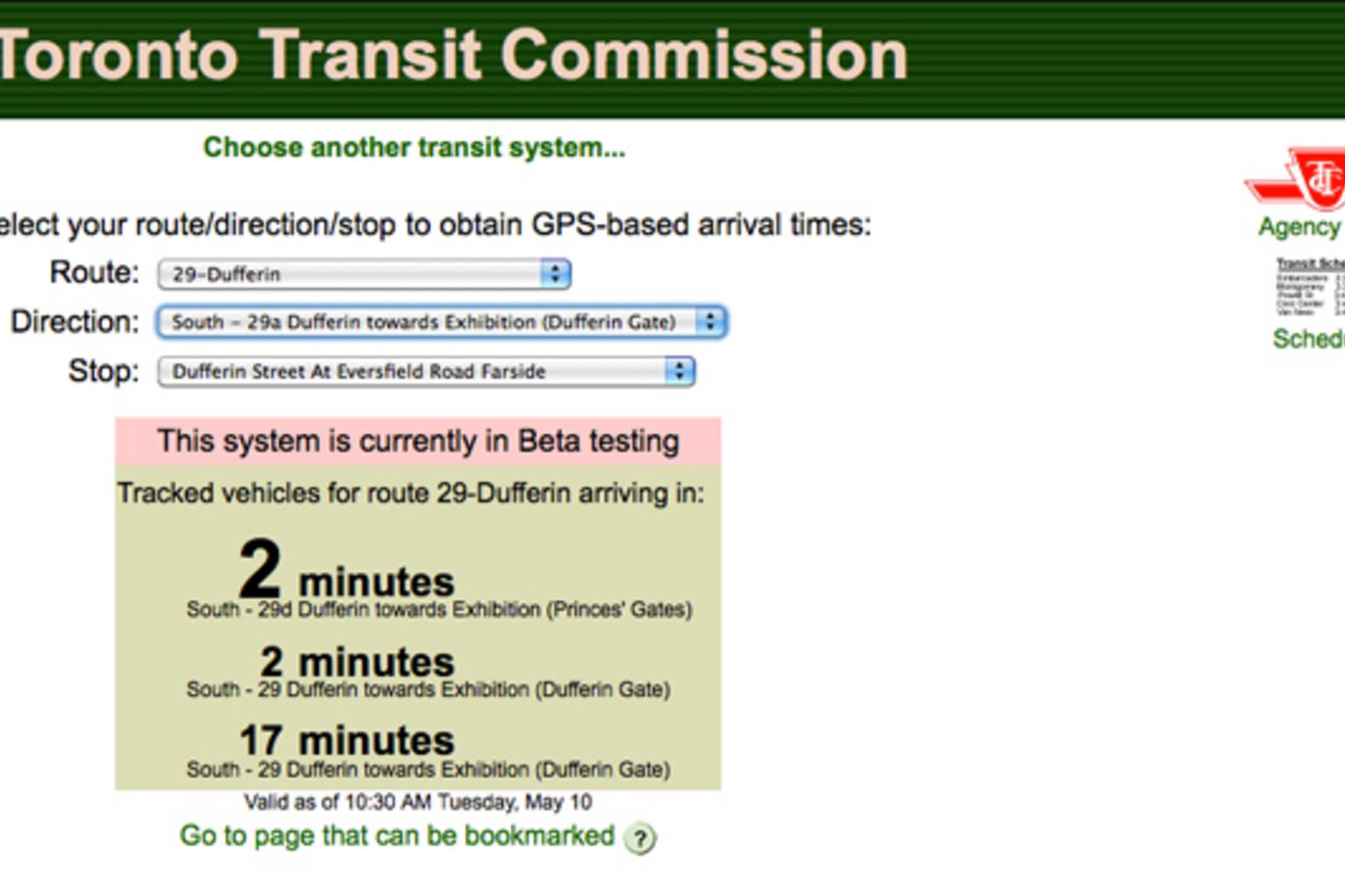TTC Buses Next Vehicle Arrival Times
