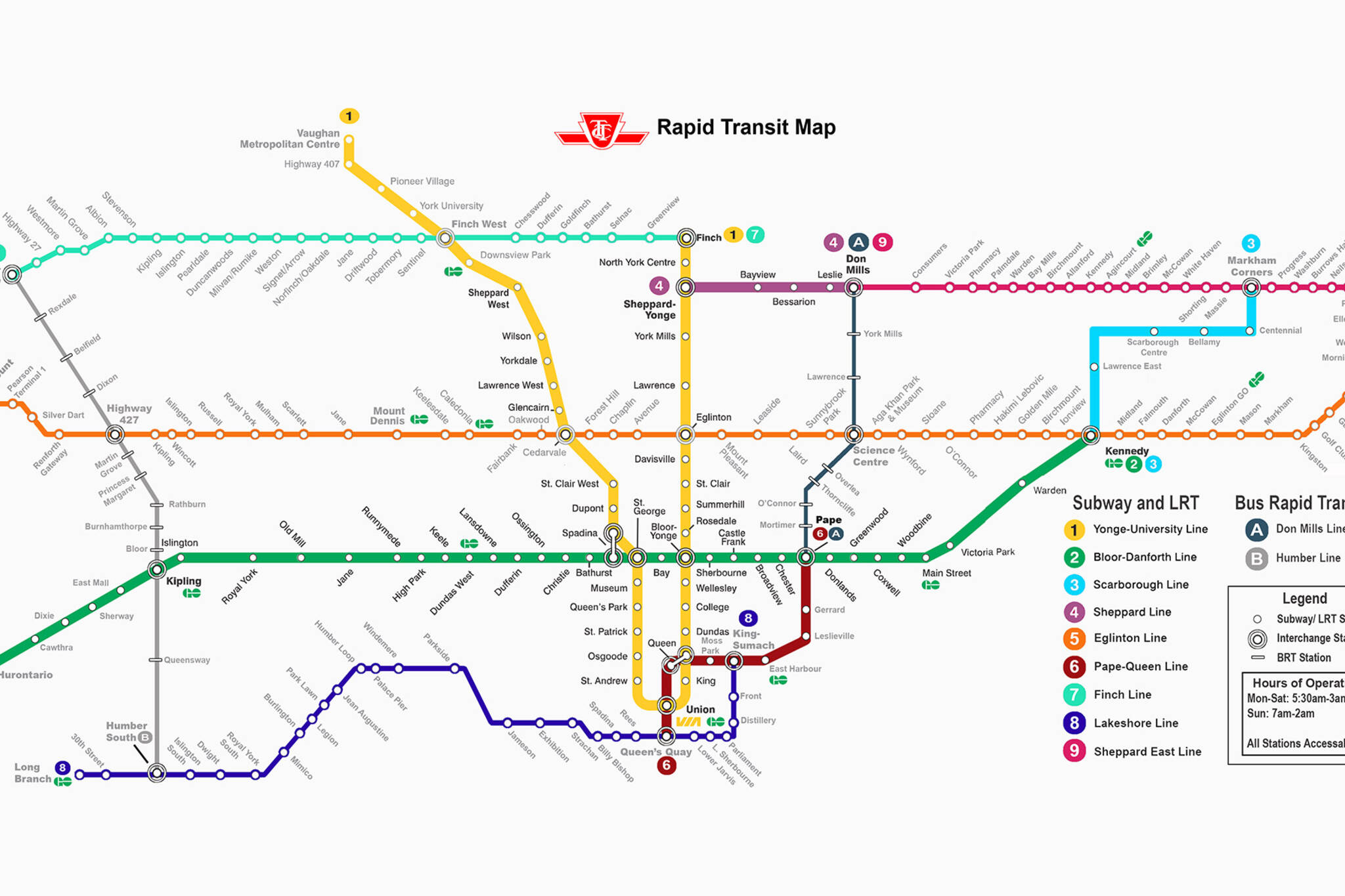 Toronto Subway Map.New Ttc Fantasy Map Imagines Toronto S Future Transit System