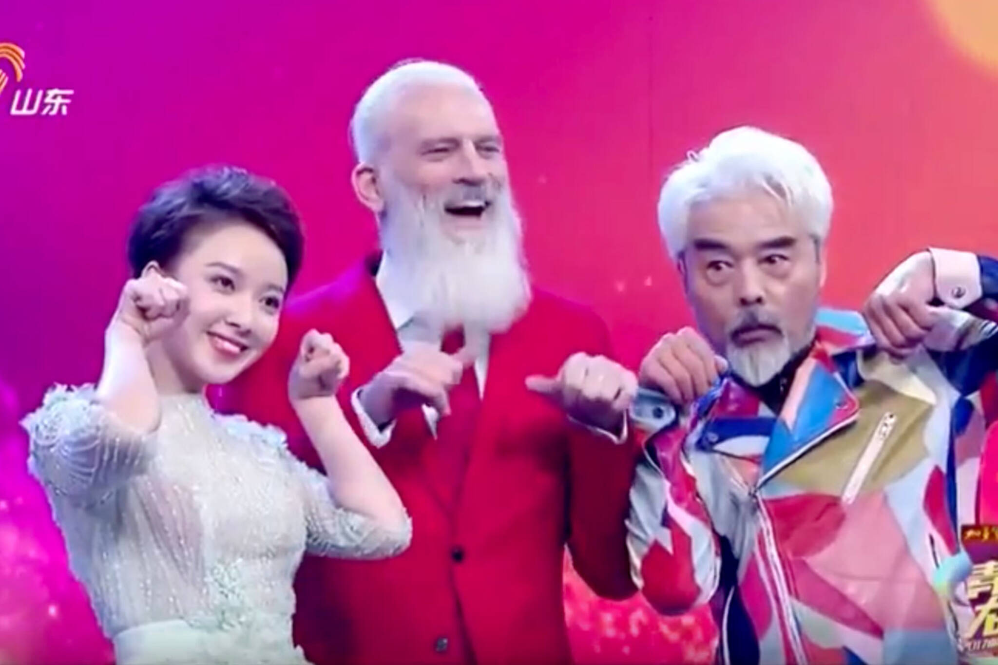Fashion Santa Appears On Chinese Tv Show