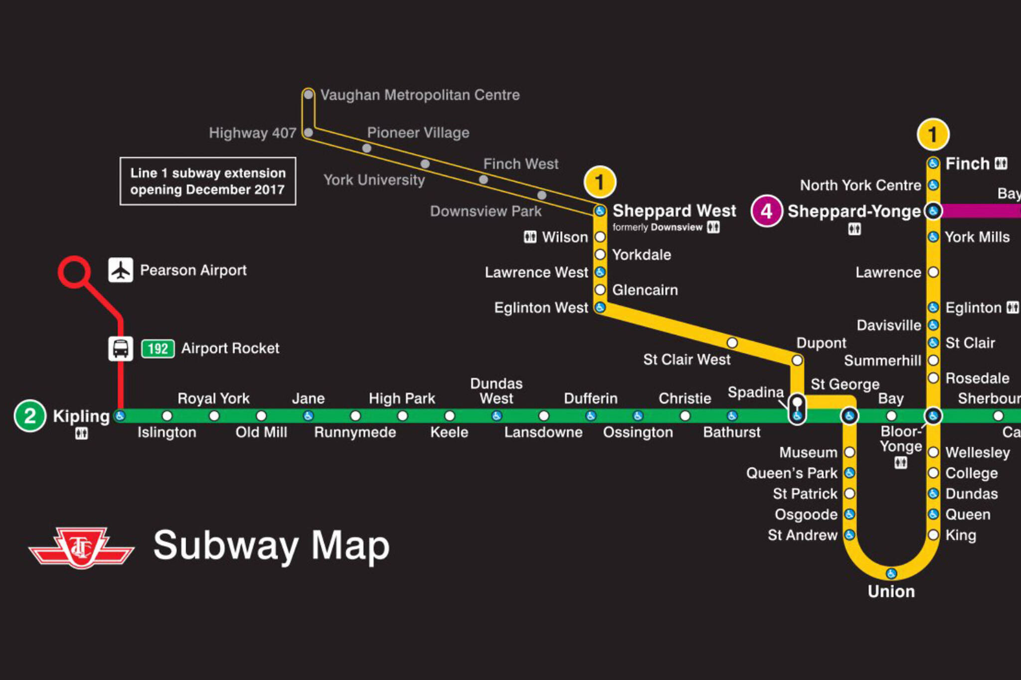 Toronto Subway Map.The Ttc Shows Off New Subway Route Map