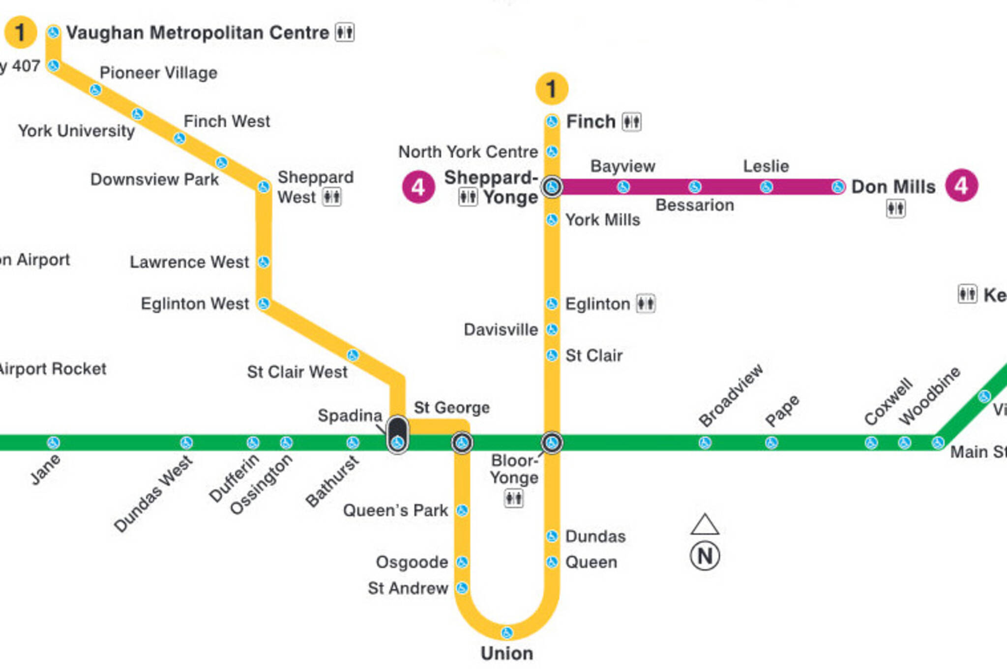 Toronto Subway Map.Someone Created A Ttc Subway Map With Only Accessible Stations