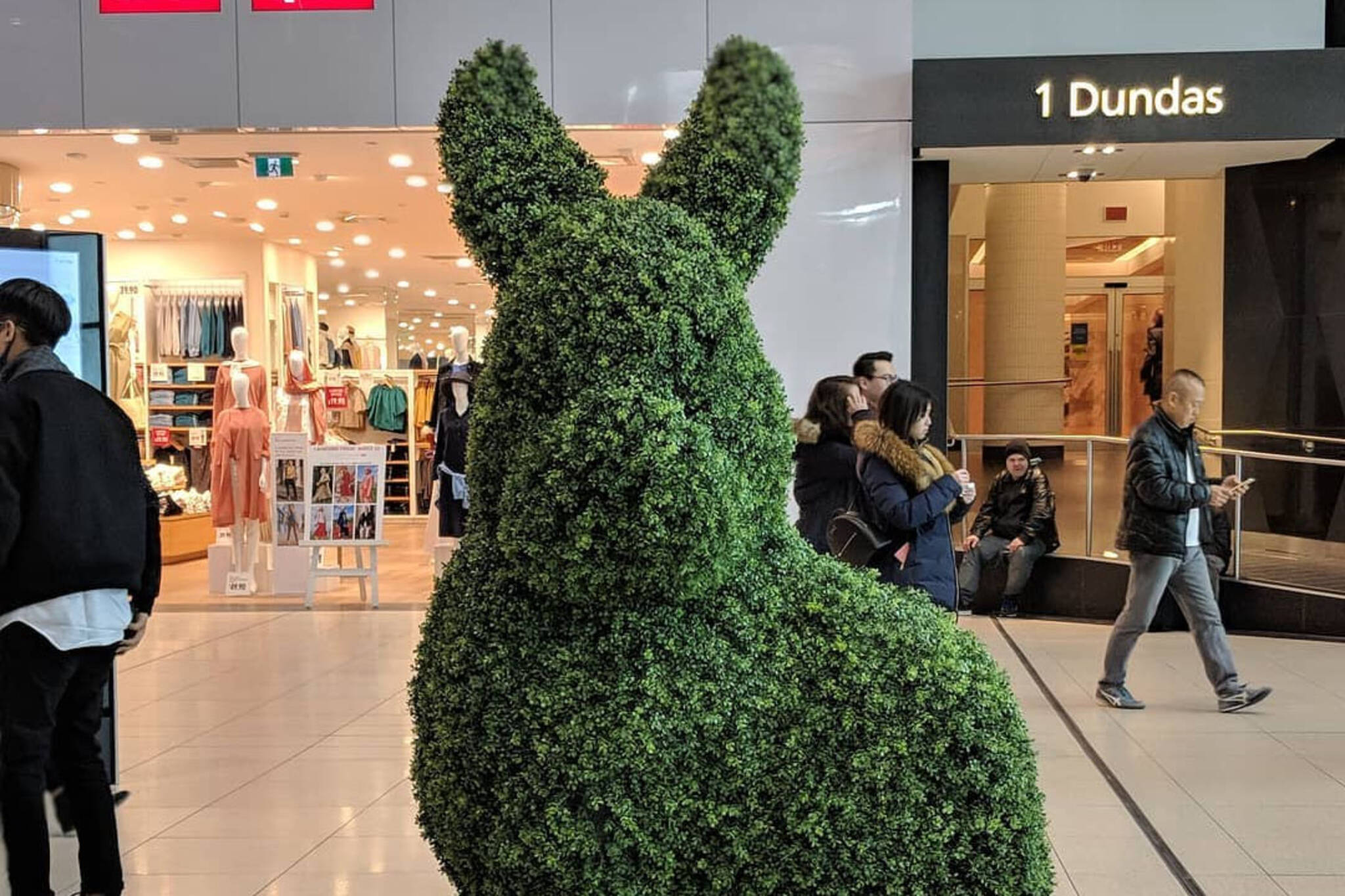 Green bunnies Eaton Centre