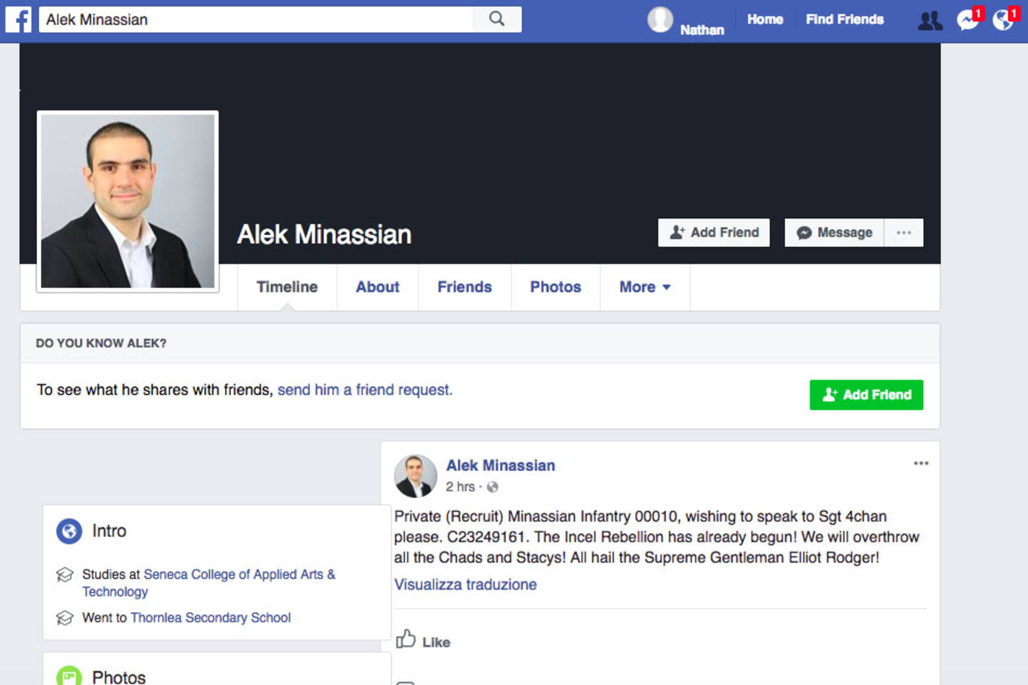 Alek Minassian Facebook