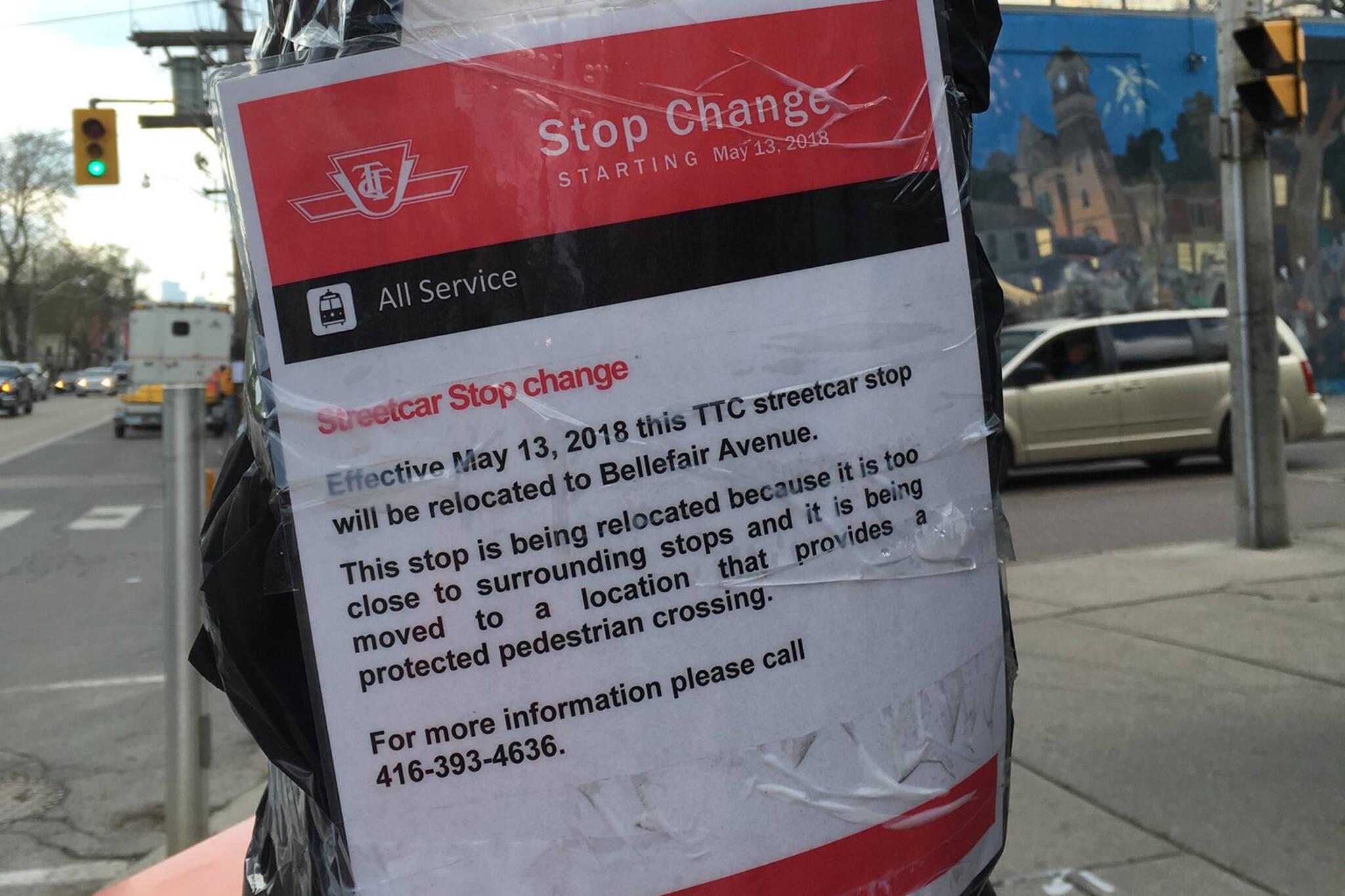 TTC stop changes