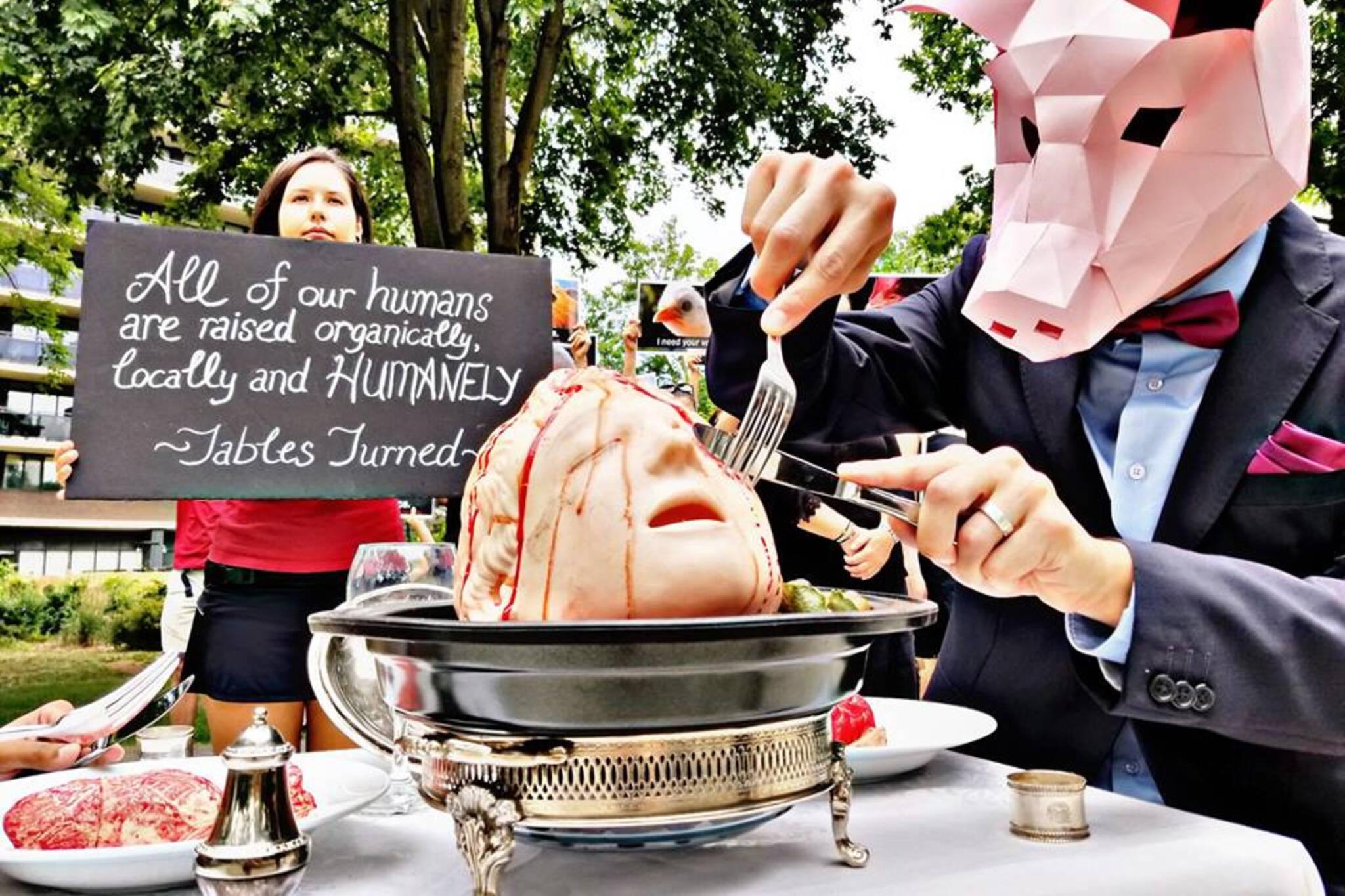 vegan pig protest