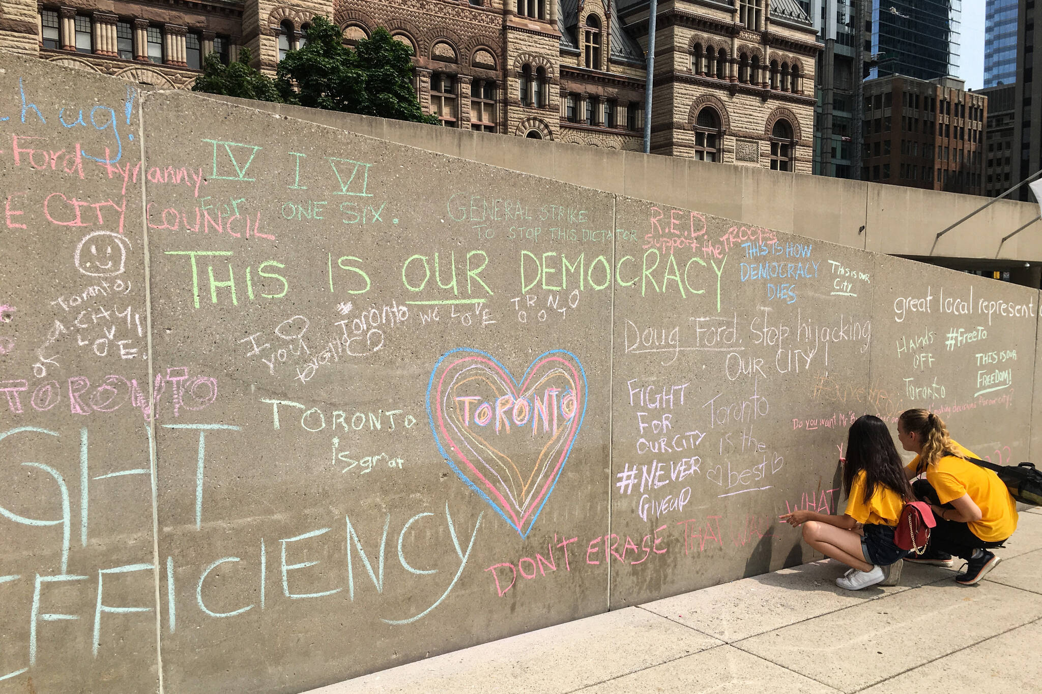 Doug Ford chalk protest
