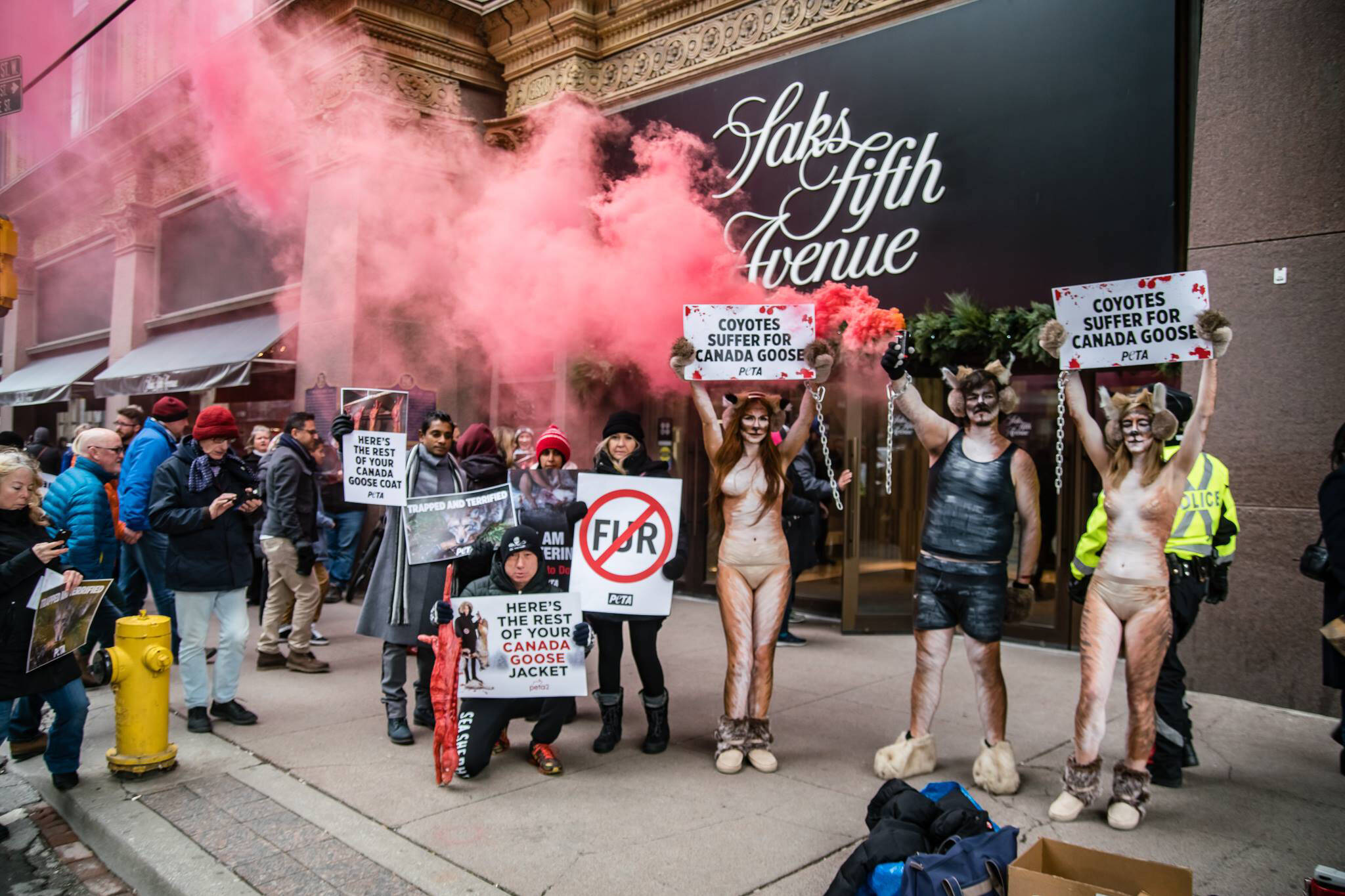 ed41d6a3315 Activists protesting Canada Goose startle shoppers across from Eaton ...