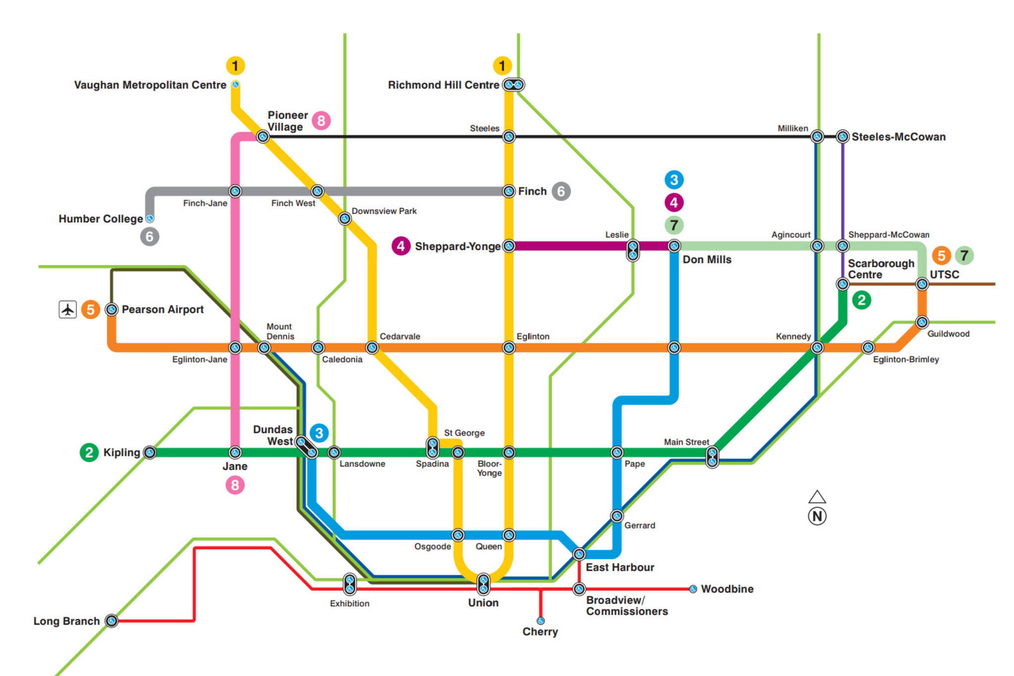 Fantasy Toronto Subway Map.This Is What The Ttc S Future Transit Map Looks Like
