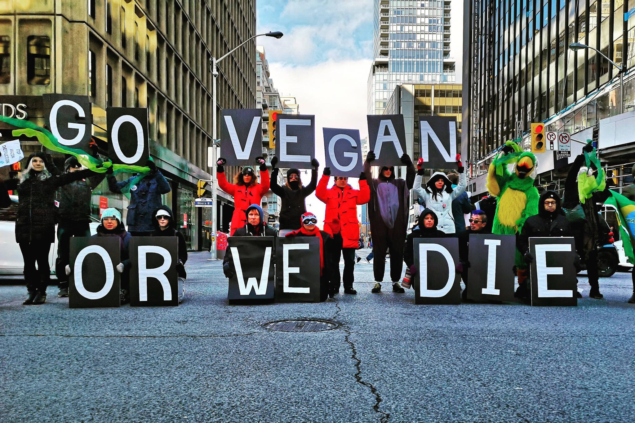 vegan protest Bolsanaro