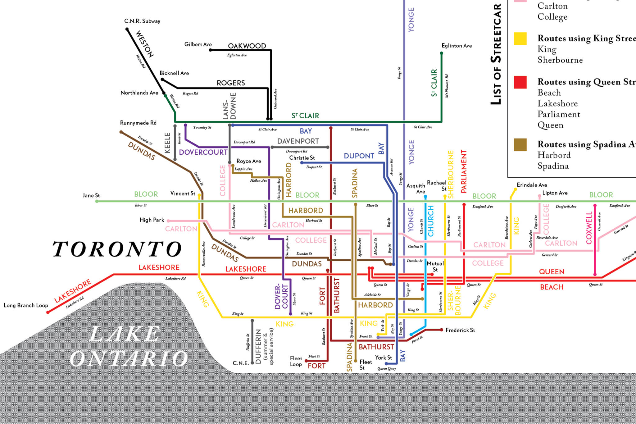 Toronto Streetcar Map Here's what Toronto's streetcar network looked like in 1932