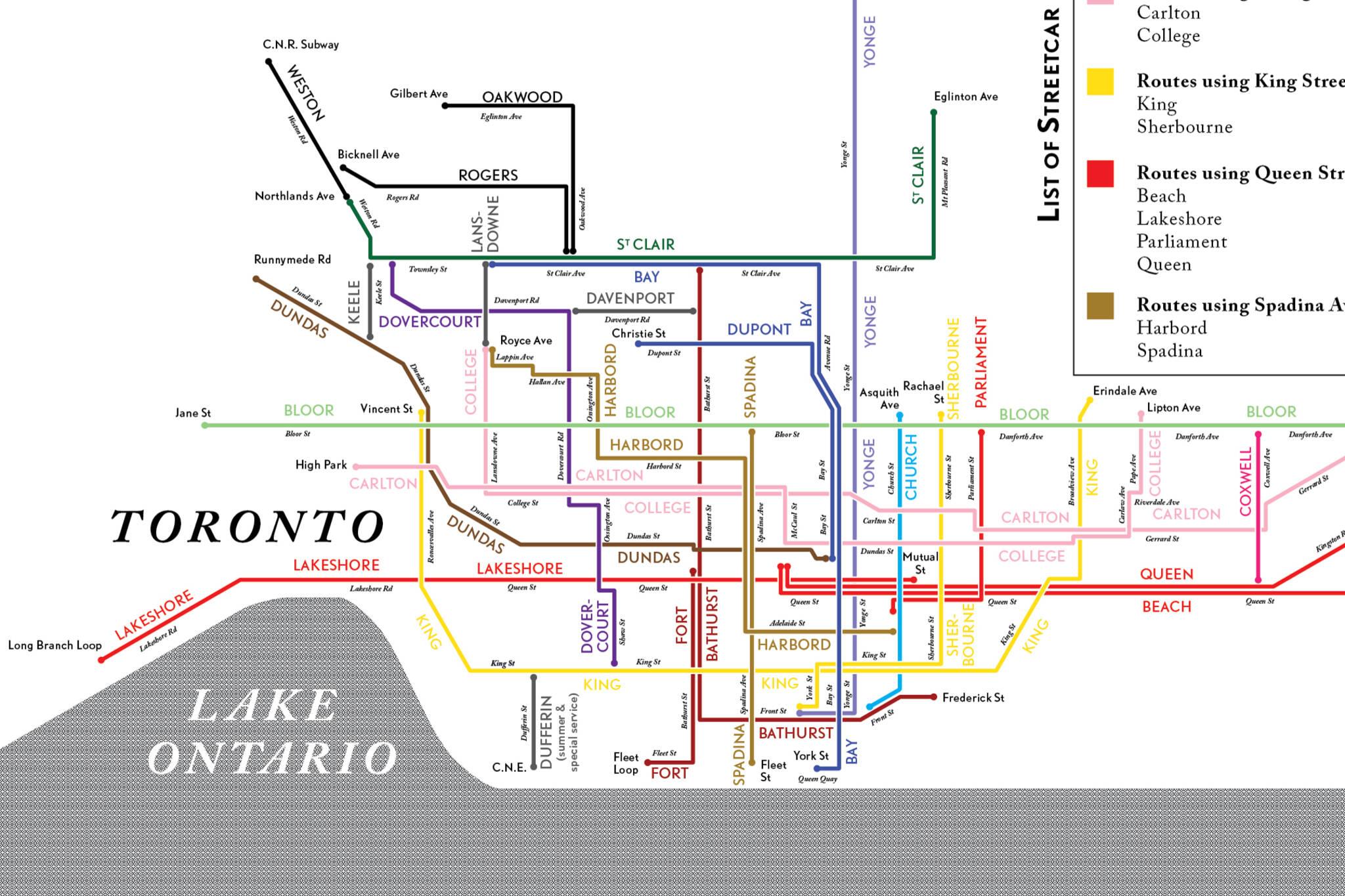 toronto streetcar map