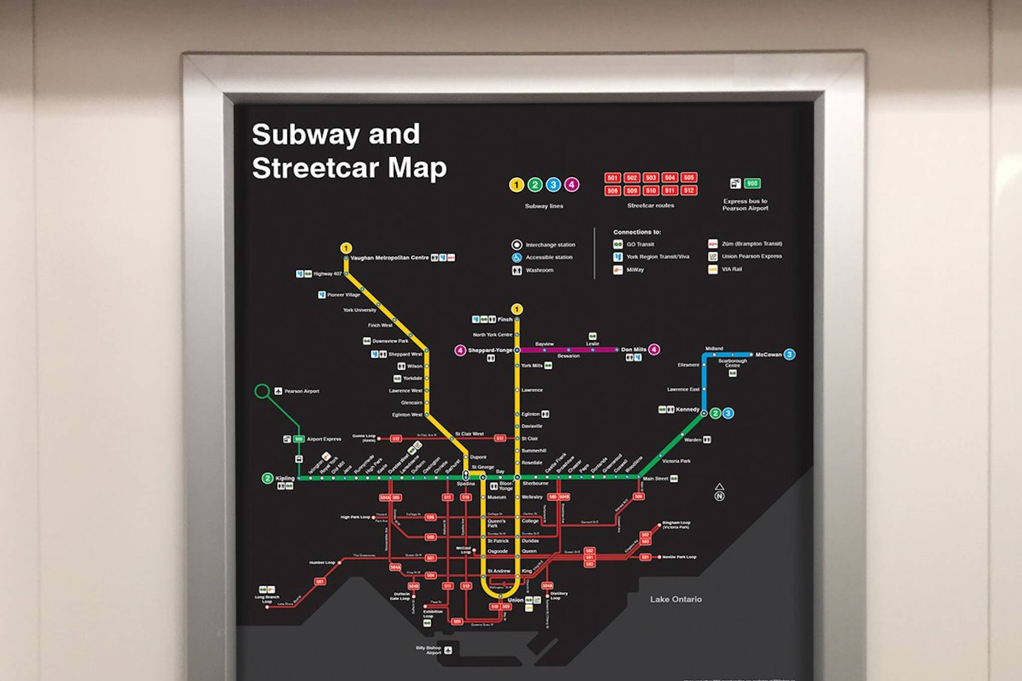 ttc subway streetcar map