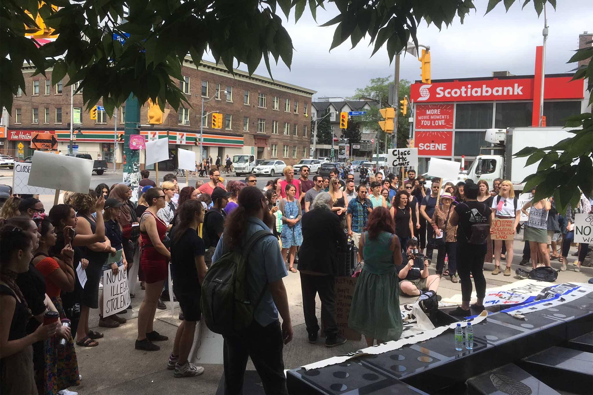 migrant camps protest toronto