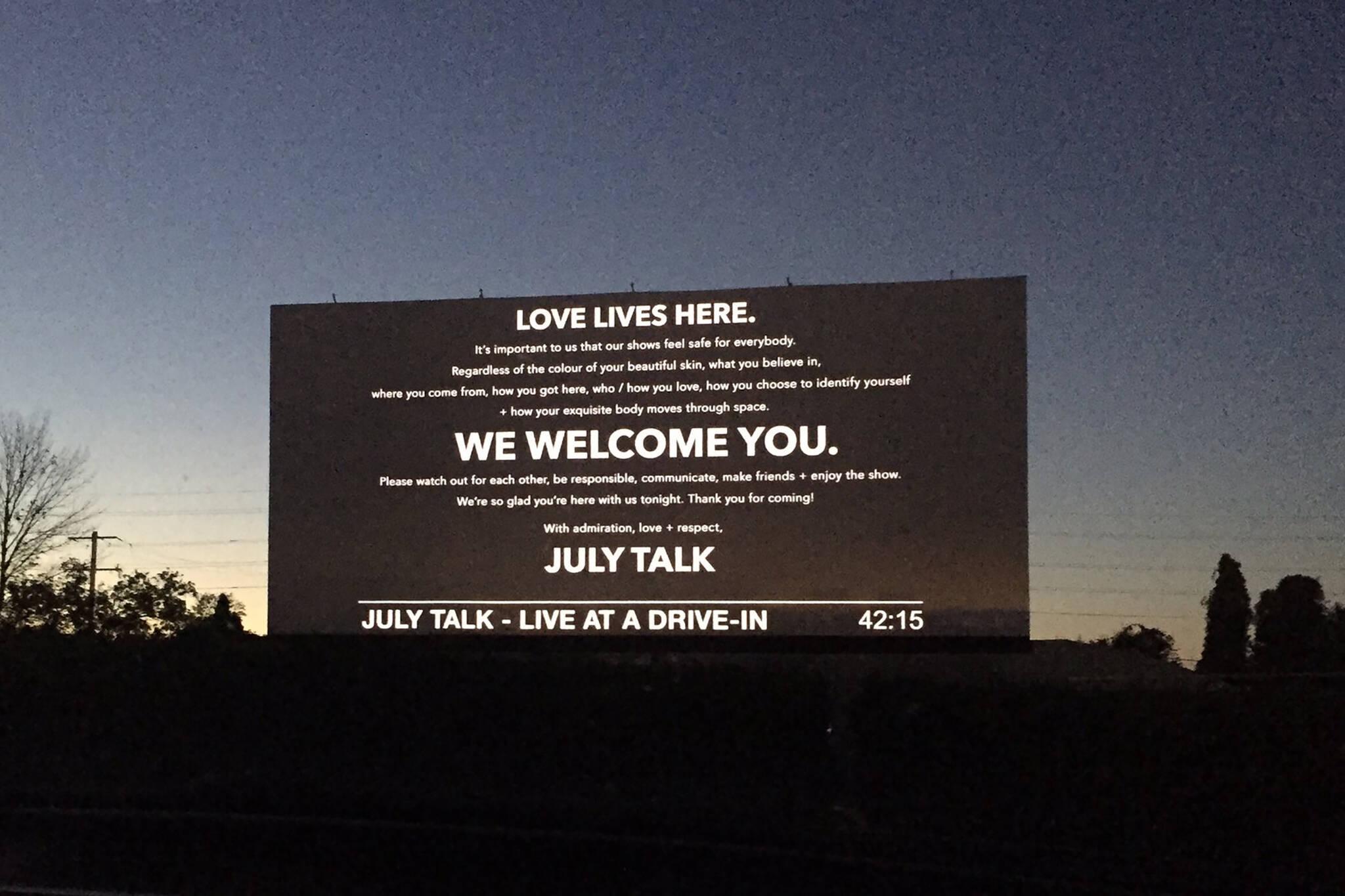 july talk drive in