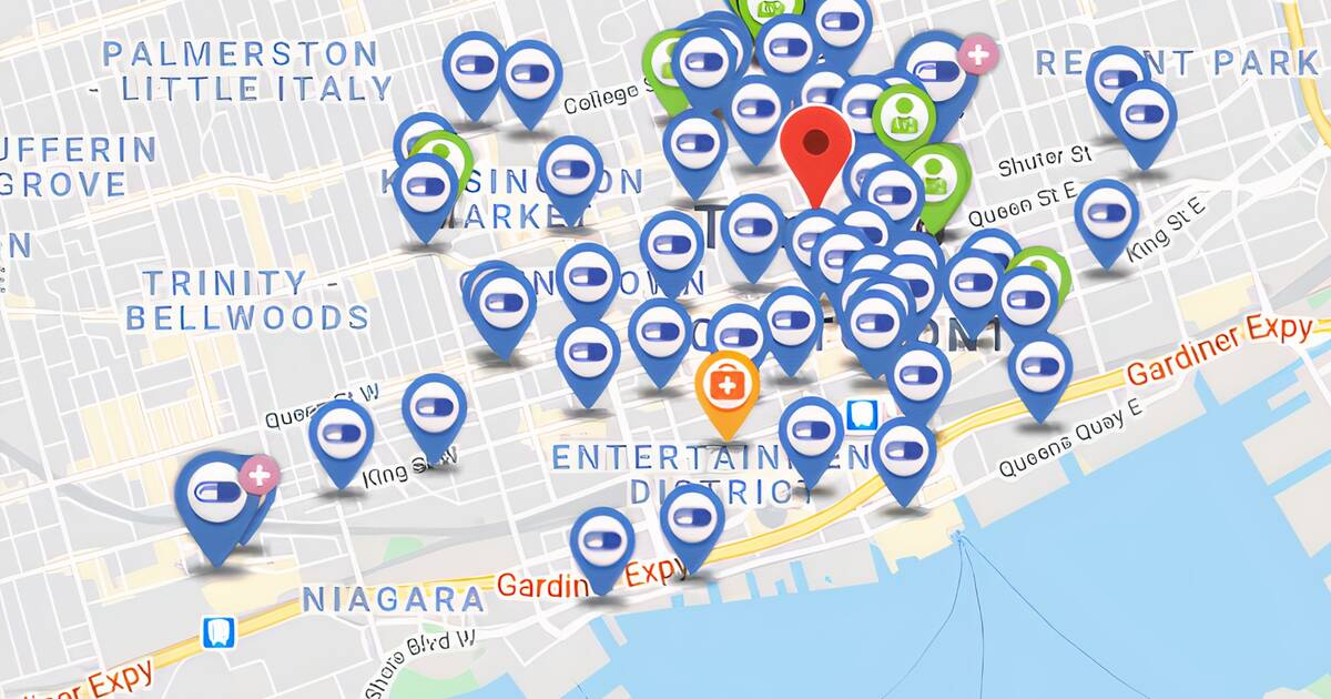 Map shows where to get a flu shot in Toronto