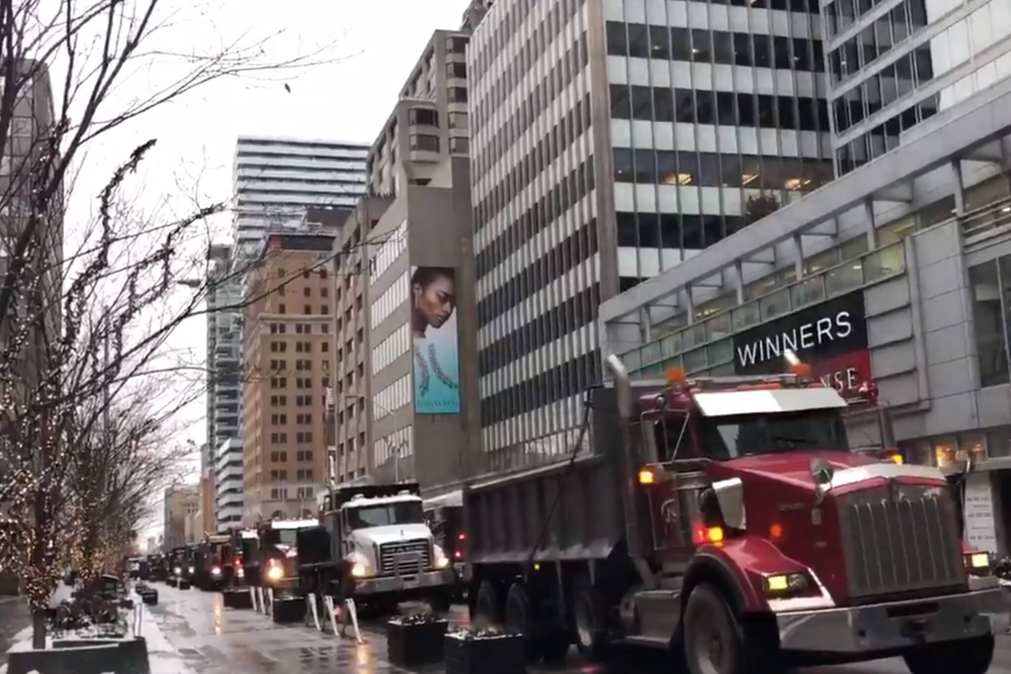 dump truck protest