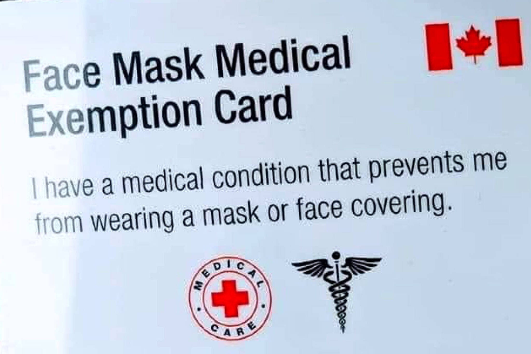 face mask exemption card canada