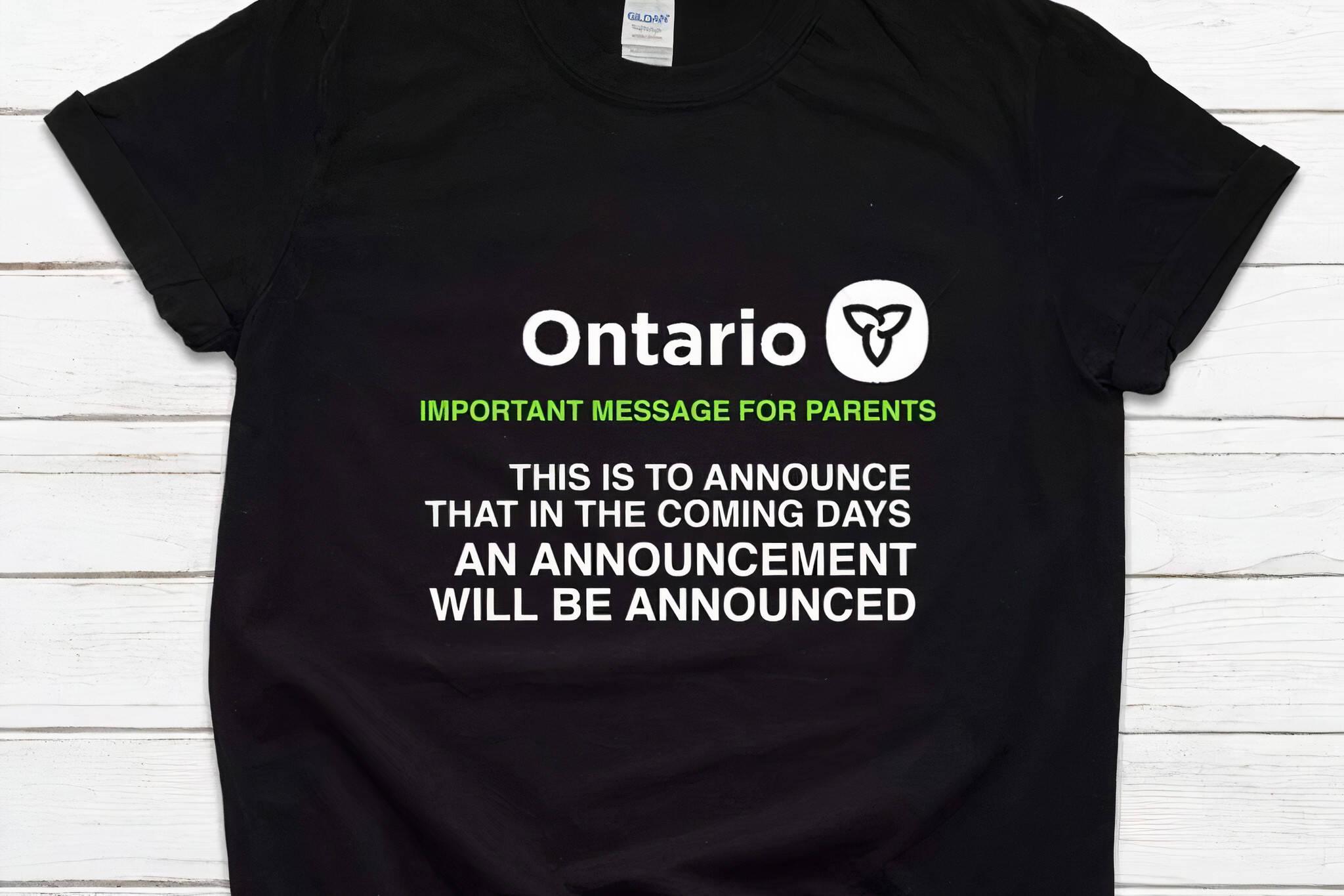 ontario announcement shirt