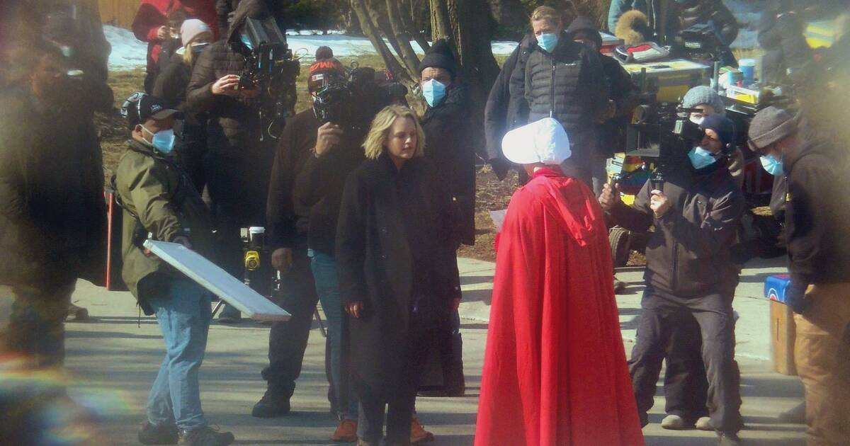Photos and videos show stars of The Handmaid's Tale filming in Toronto