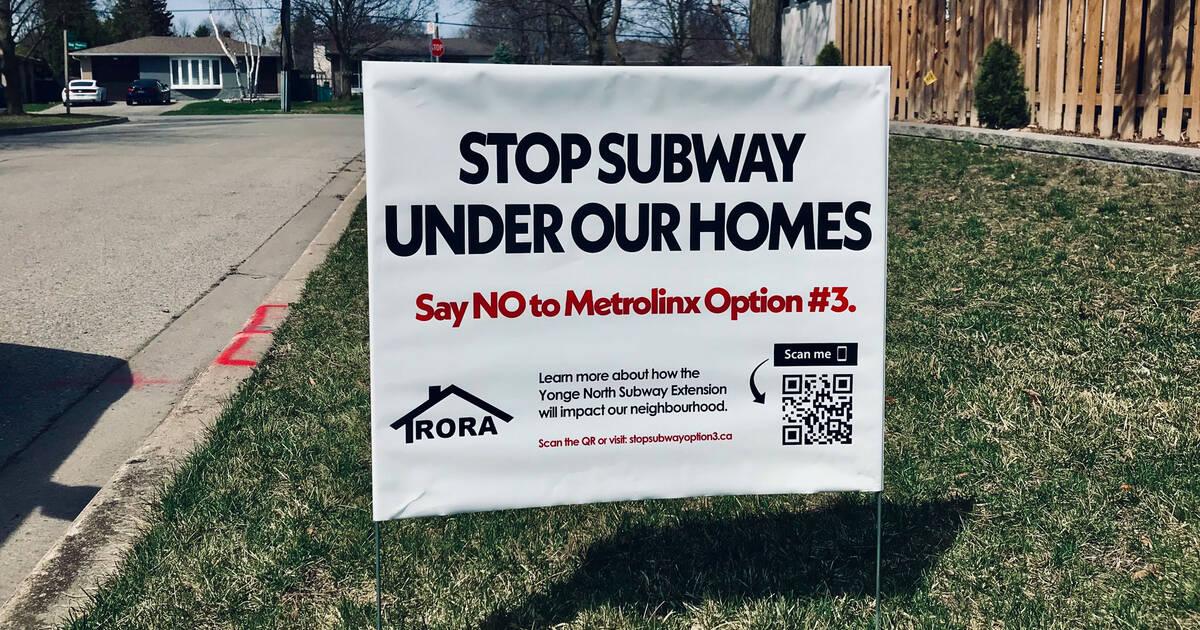 近所はトロントの新しい地下鉄が彼らの家の真下を走るかもしれないとショックを受けました
