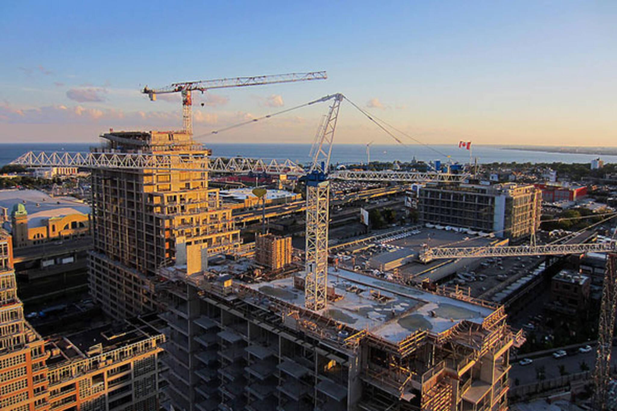 toronto sunrise construction skyline crane CNE