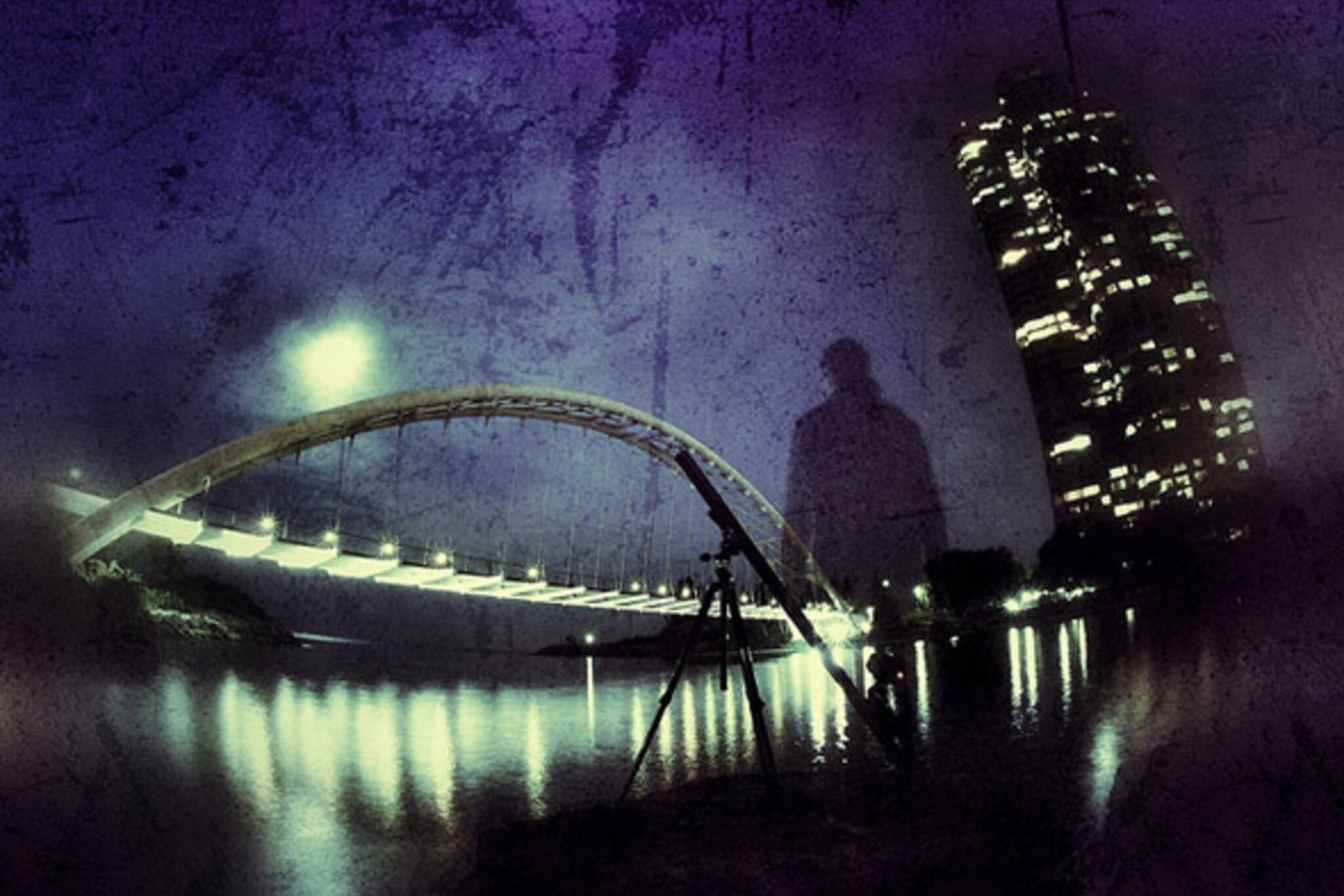 midnight, bridge, night