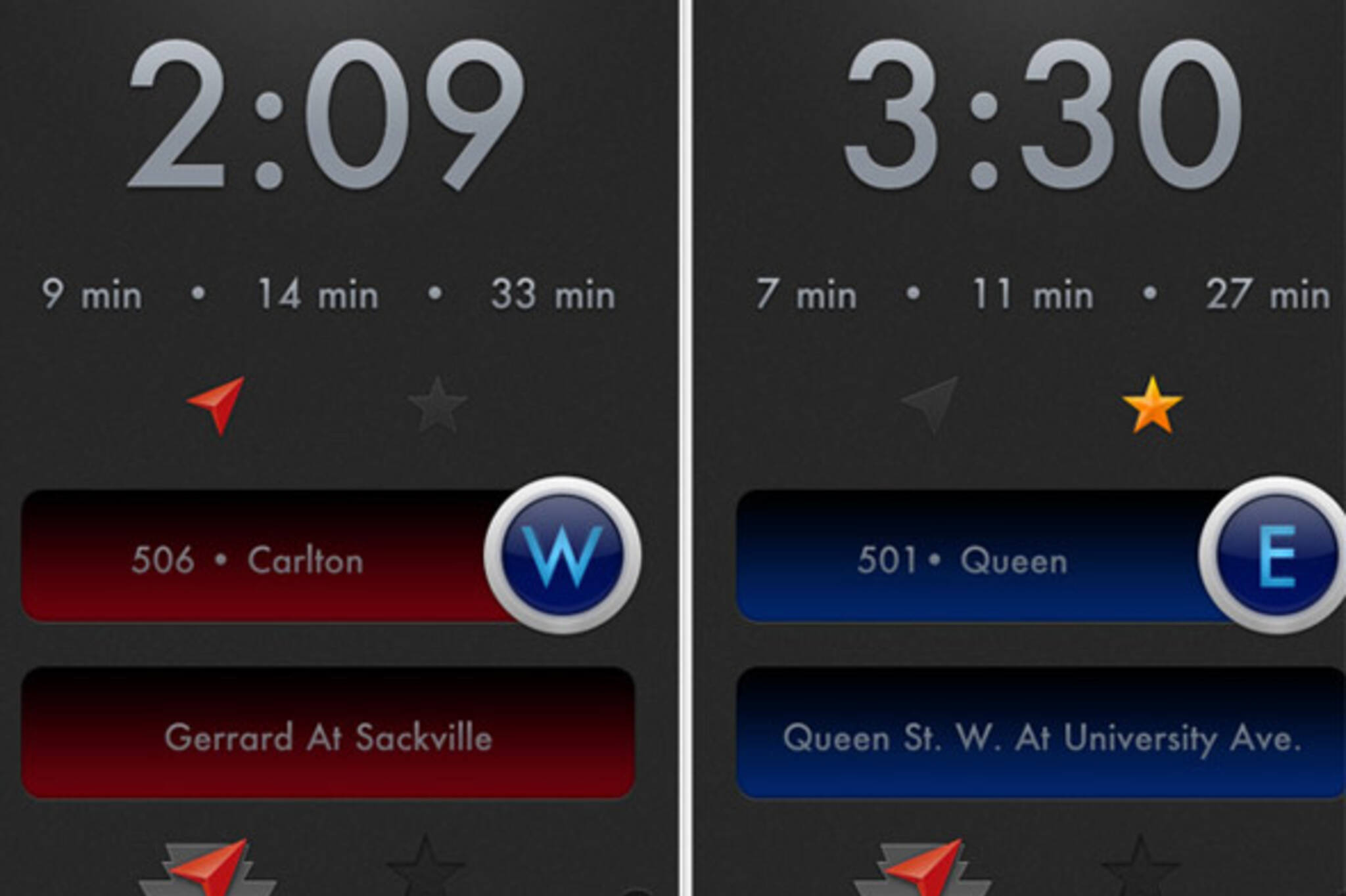 TTC iPhone streetcar apps